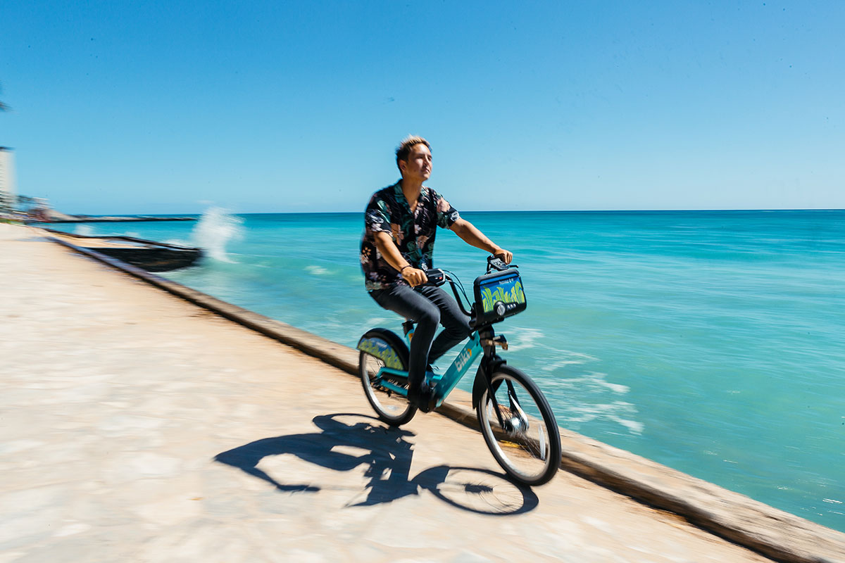 Take the scenic route by bike. Biki Bikeshare stations can be found throughout Honolulu. Get the app or visit:  https://gobiki.org/