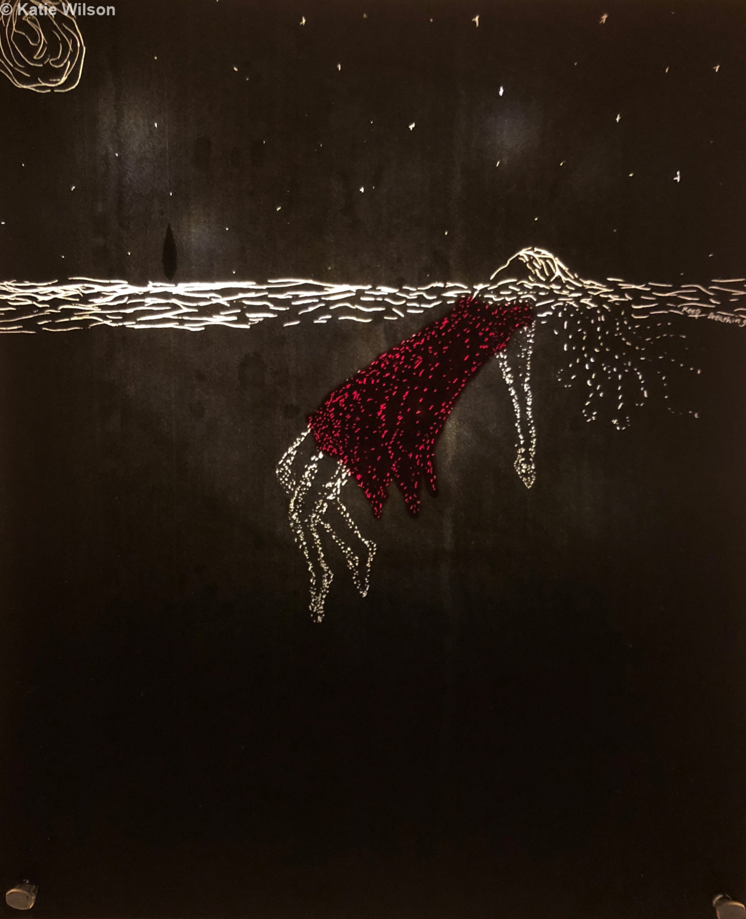 """Keep Breathing, 2018 5.5"""" x 6.5"""" — SOLD   When her arms tired, she began to slip down into the darkness, floating only by her lungs."""