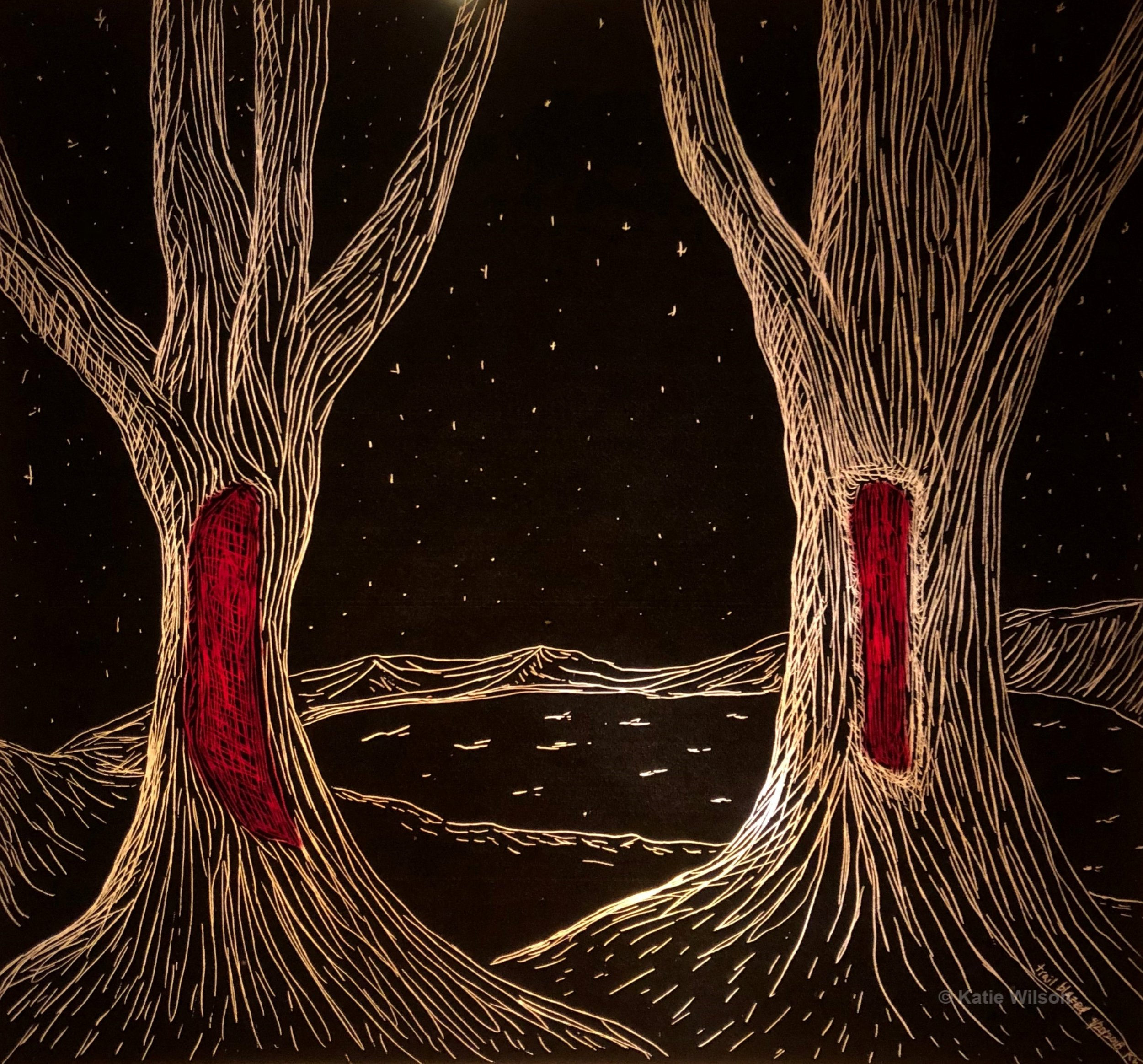 """Trail Blazed, 2018 5.5"""" x 6""""   Every night they glow red again, just like when the lighting struck."""