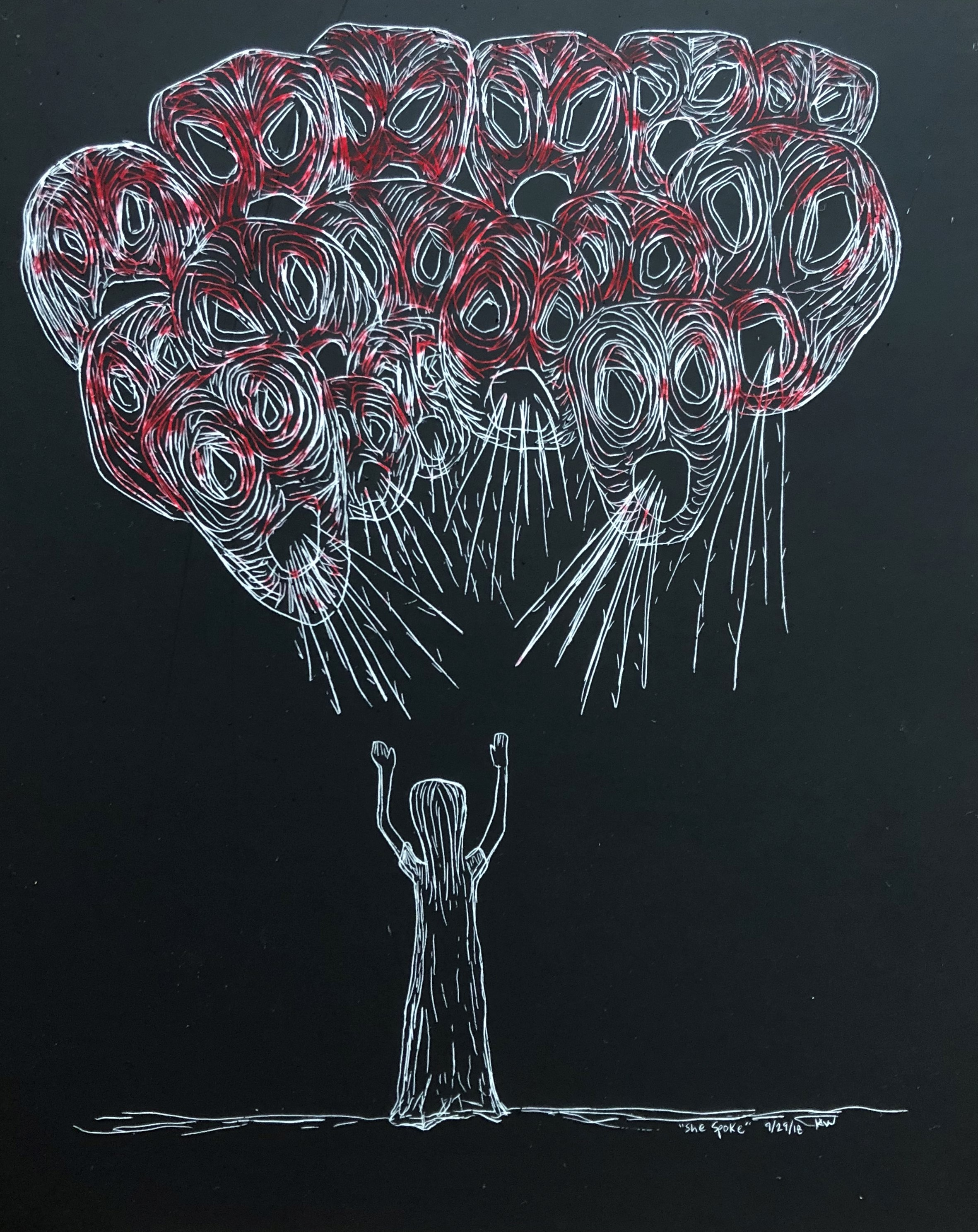 """She Spoke, 2018 5"""" x 6""""   They screamed so no one could hear."""