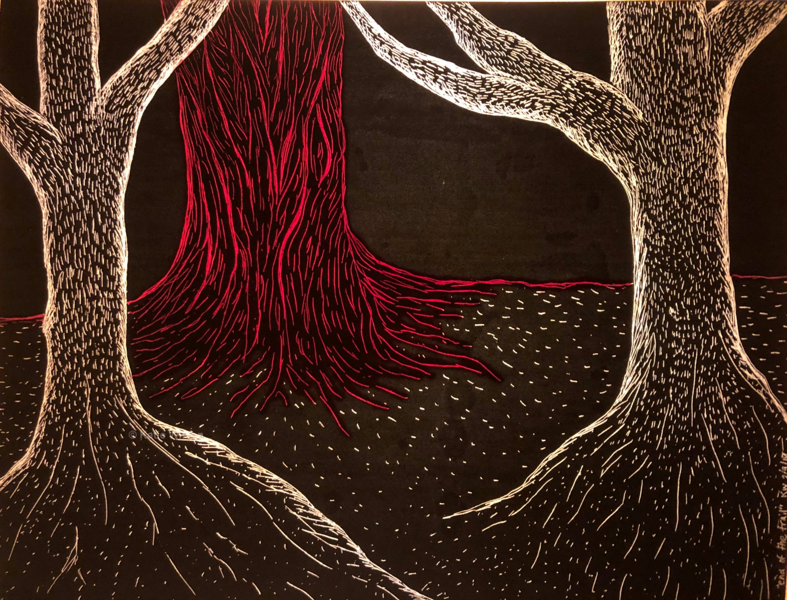 """End of the Trail, 2019 5"""" x 6""""   He found it at the end, just as the map showed, bark impossibly red and creviced. It was humming."""