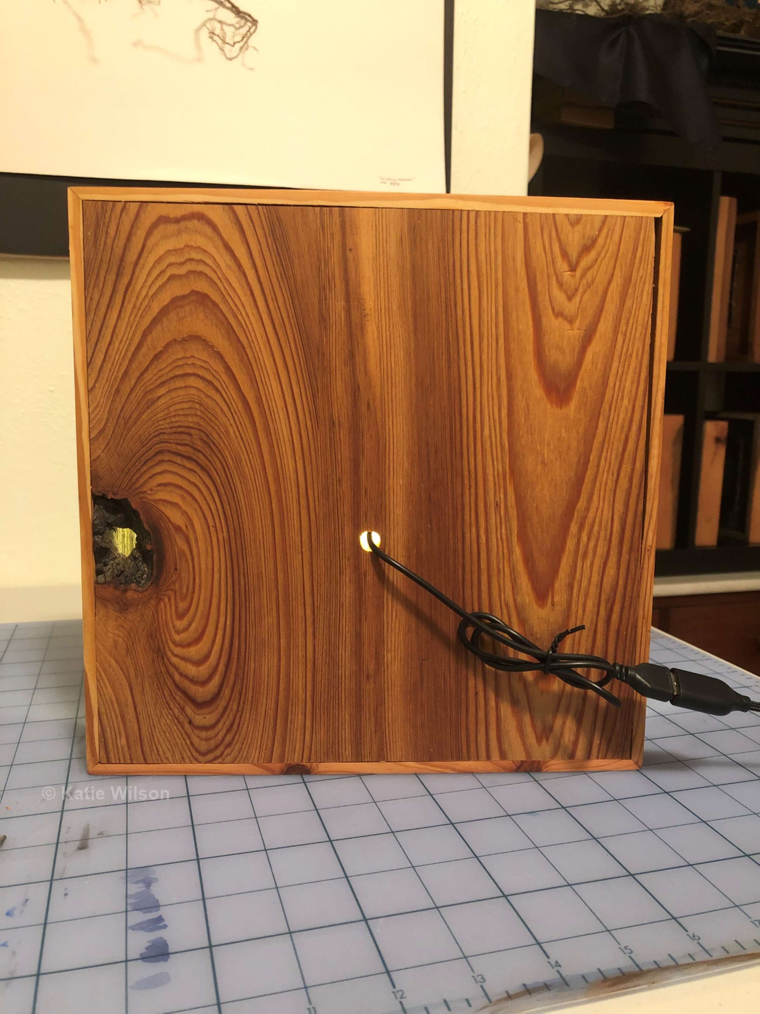 Example of finished piece in box (back, plugged in)