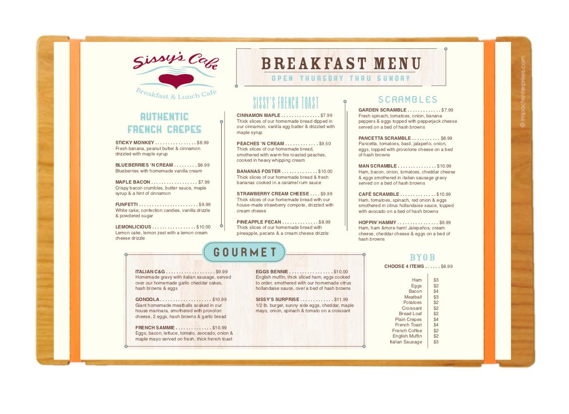 SISSY'S BREAKFAST CAFE Menu development and design