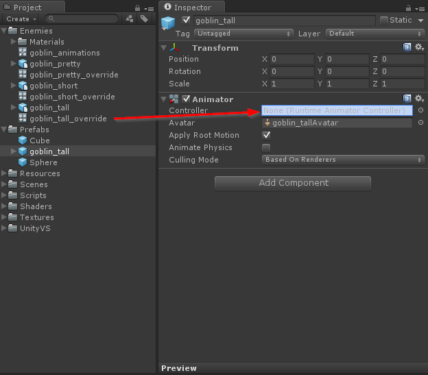 Setting animator component