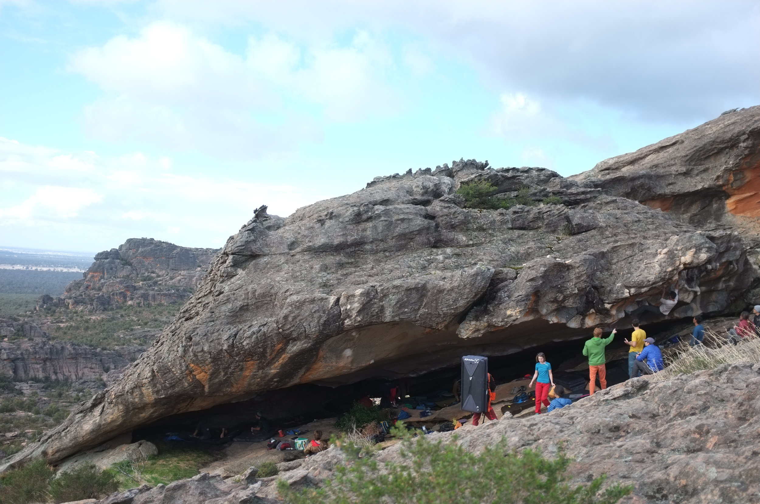 The Hollow Mountain Cave is a huge, slightly slanting crack, opening at an exposed peak overlooking the flat farmlands below.