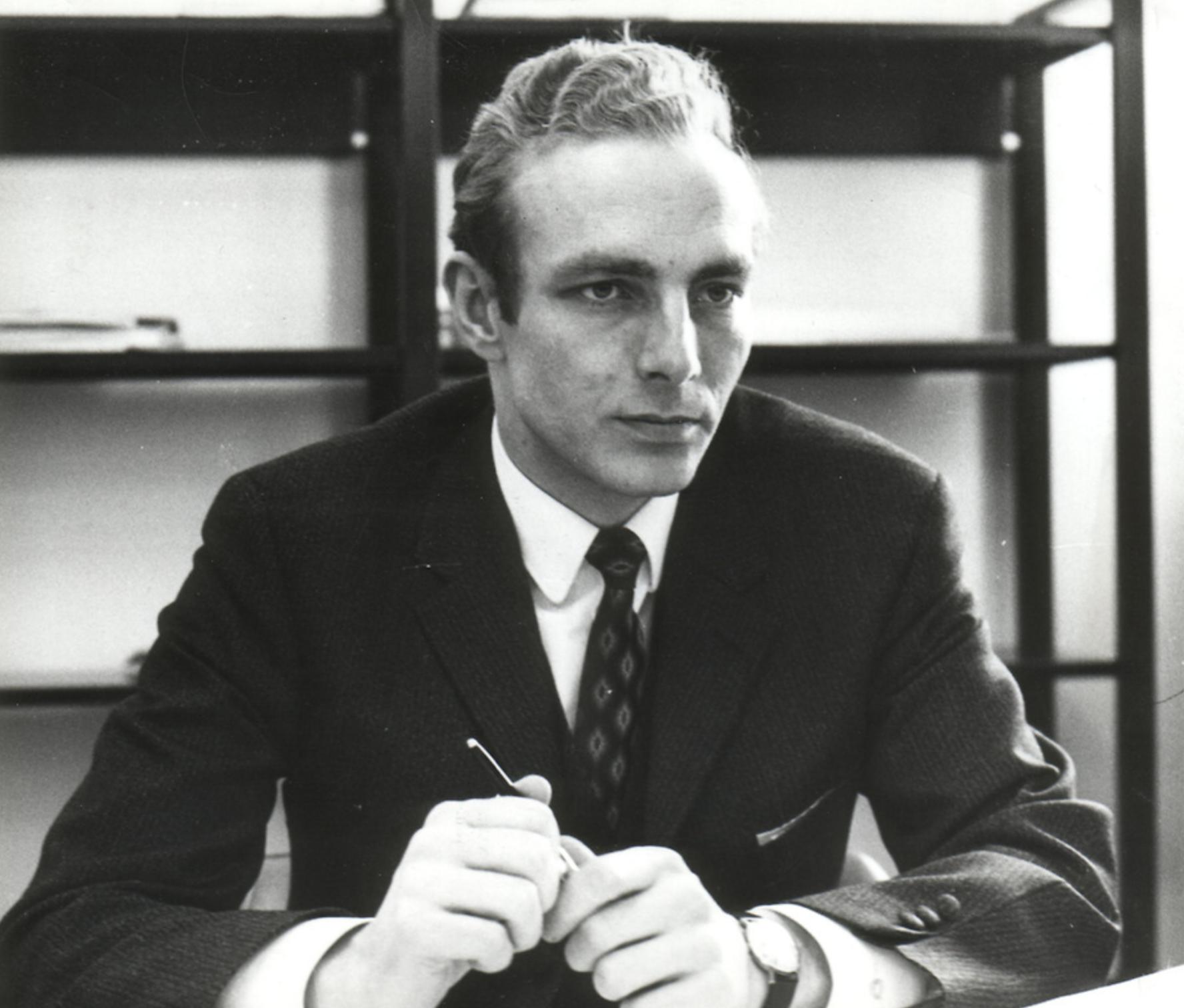 A young and ambitious Pekka Koskenkyla at his desk