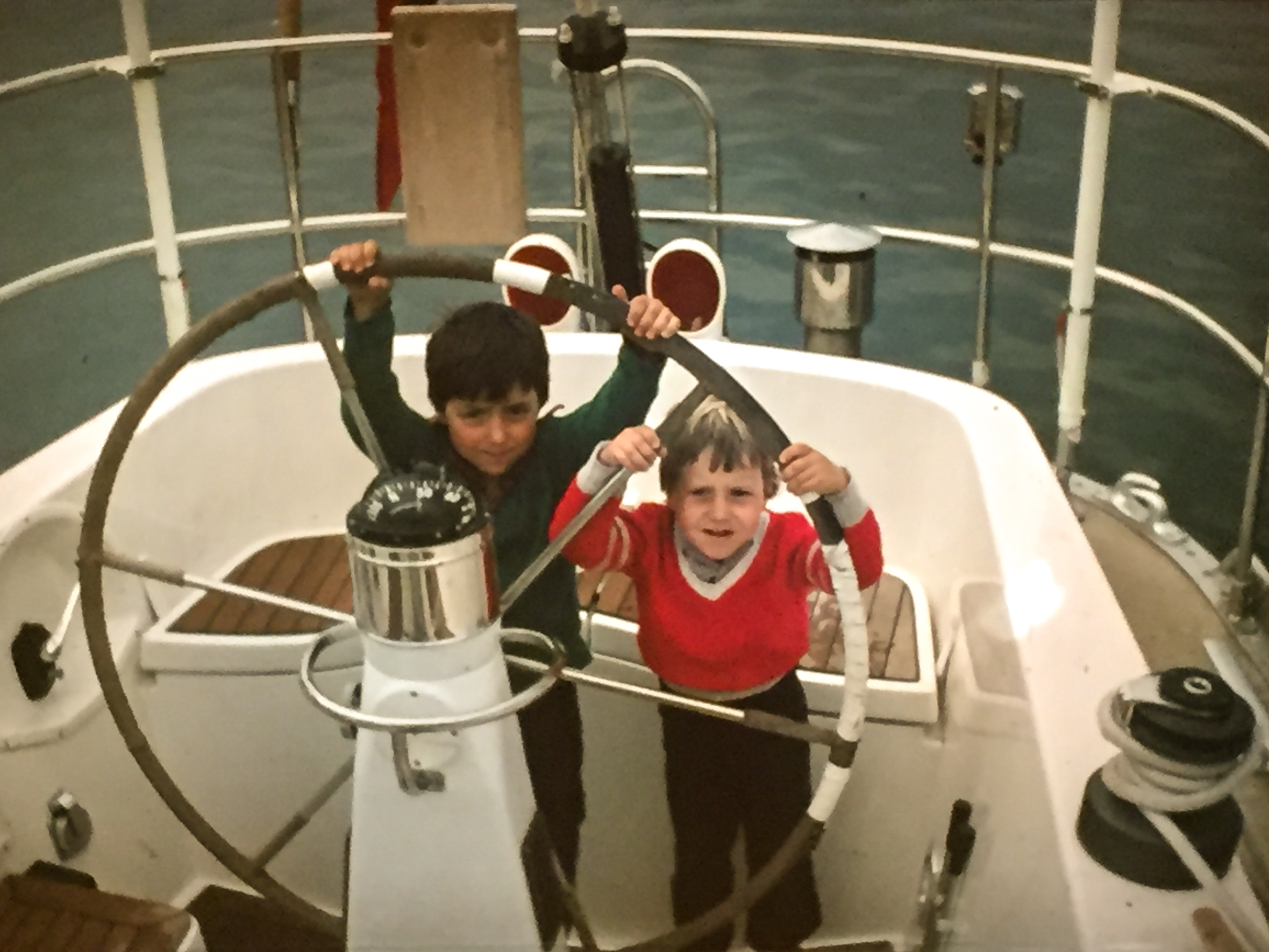 The Editor (right) behind the helm with his older brother.The S&S Swan 57,Whitbread competitor, Berge Viking in the early 1980s