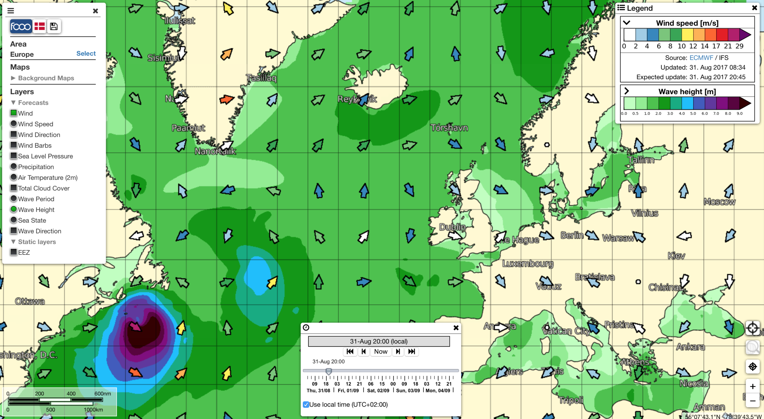 Screenshot from FCOO Marine Forecast.