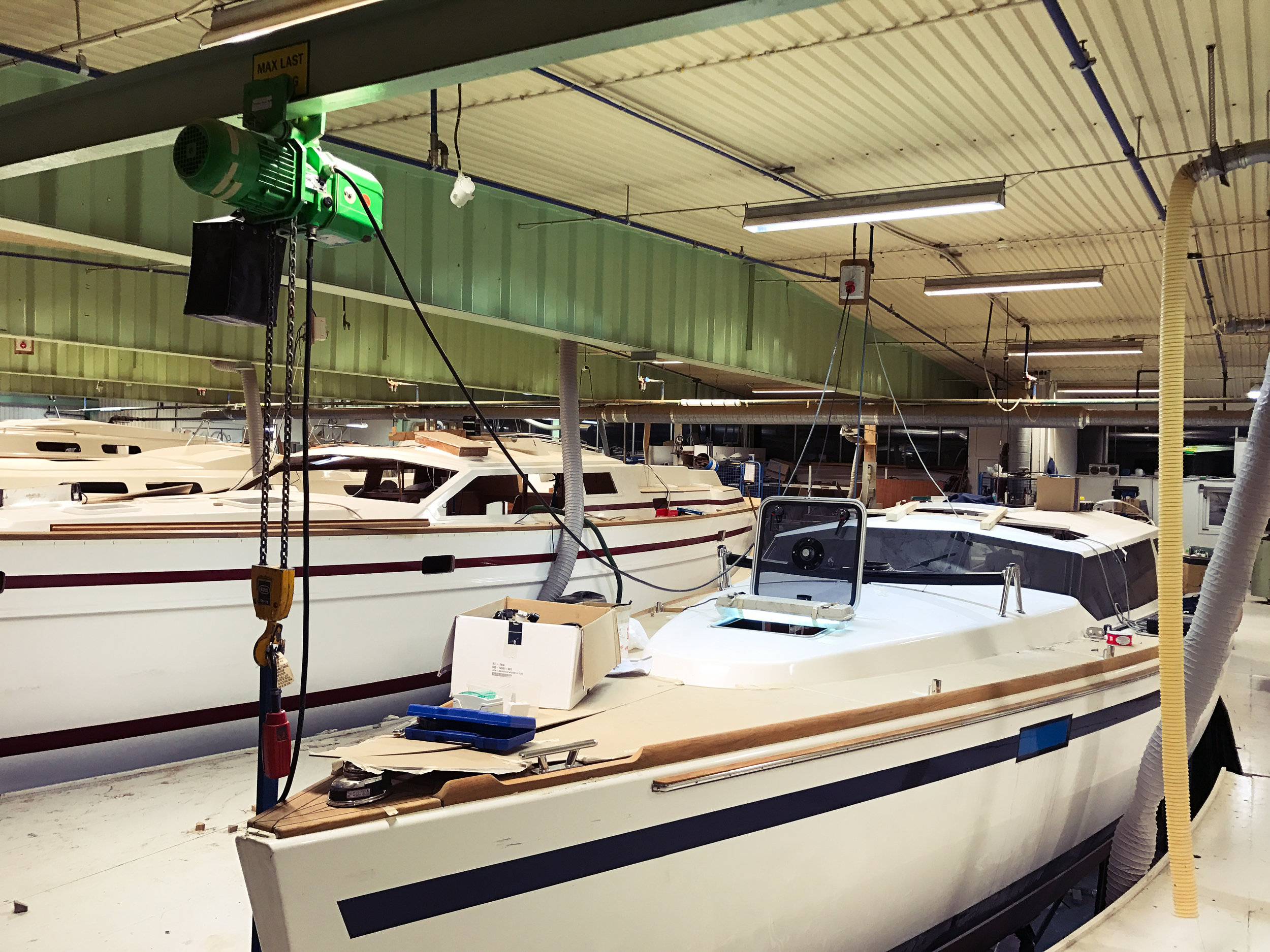Deck Saloons in the production hall. Photo by Sweden Yachts Group.
