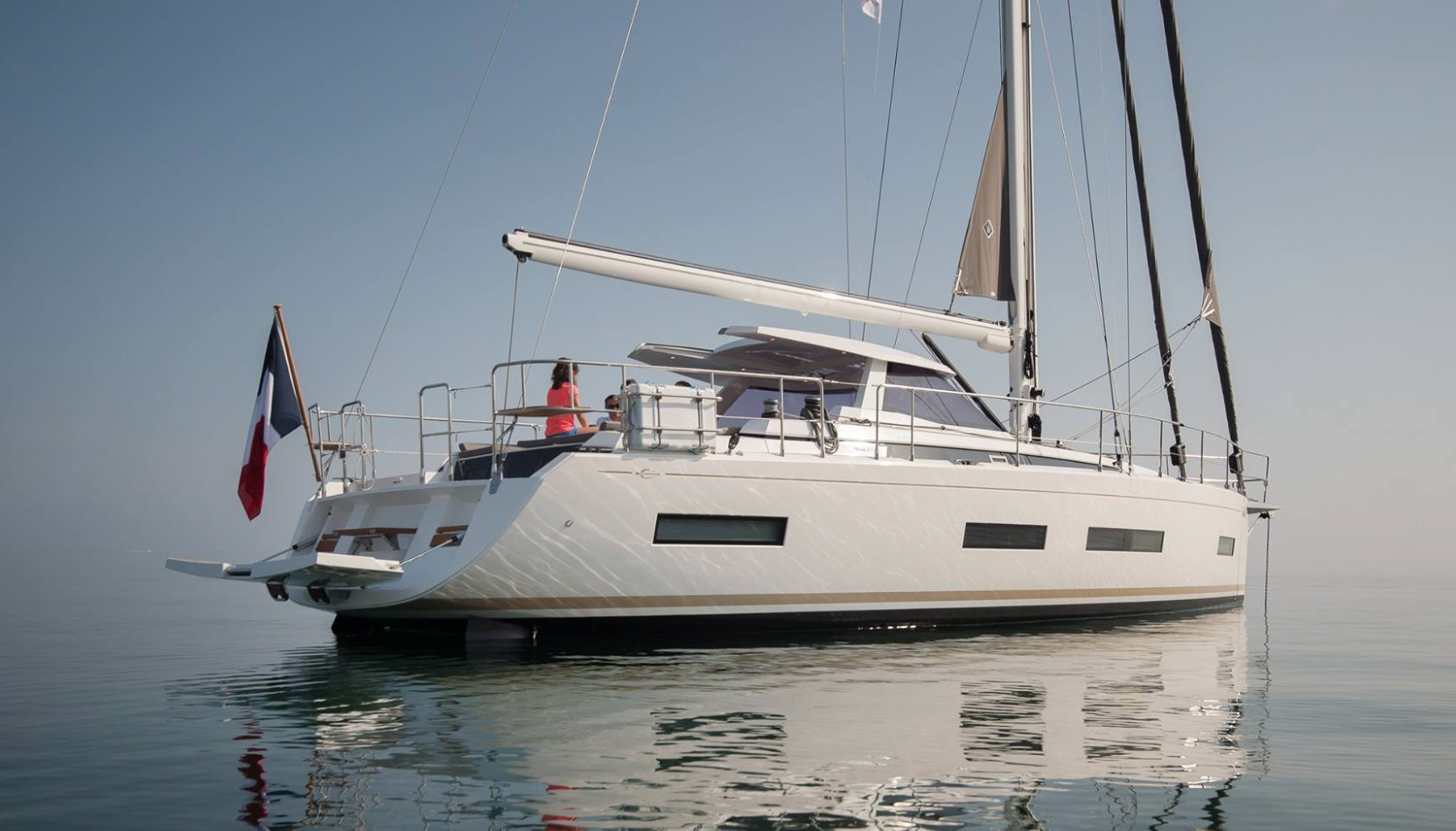 Amel 50. French boatbuilding at its best. A sheltered pilothouse is great for cruising in the higher latitudes. Photo by: Chantiers Amel