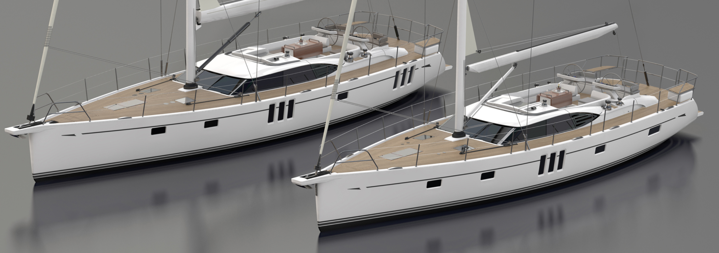 Oyster 565 and 595 - a little more better. Illustrations by: Oyster Yachts.