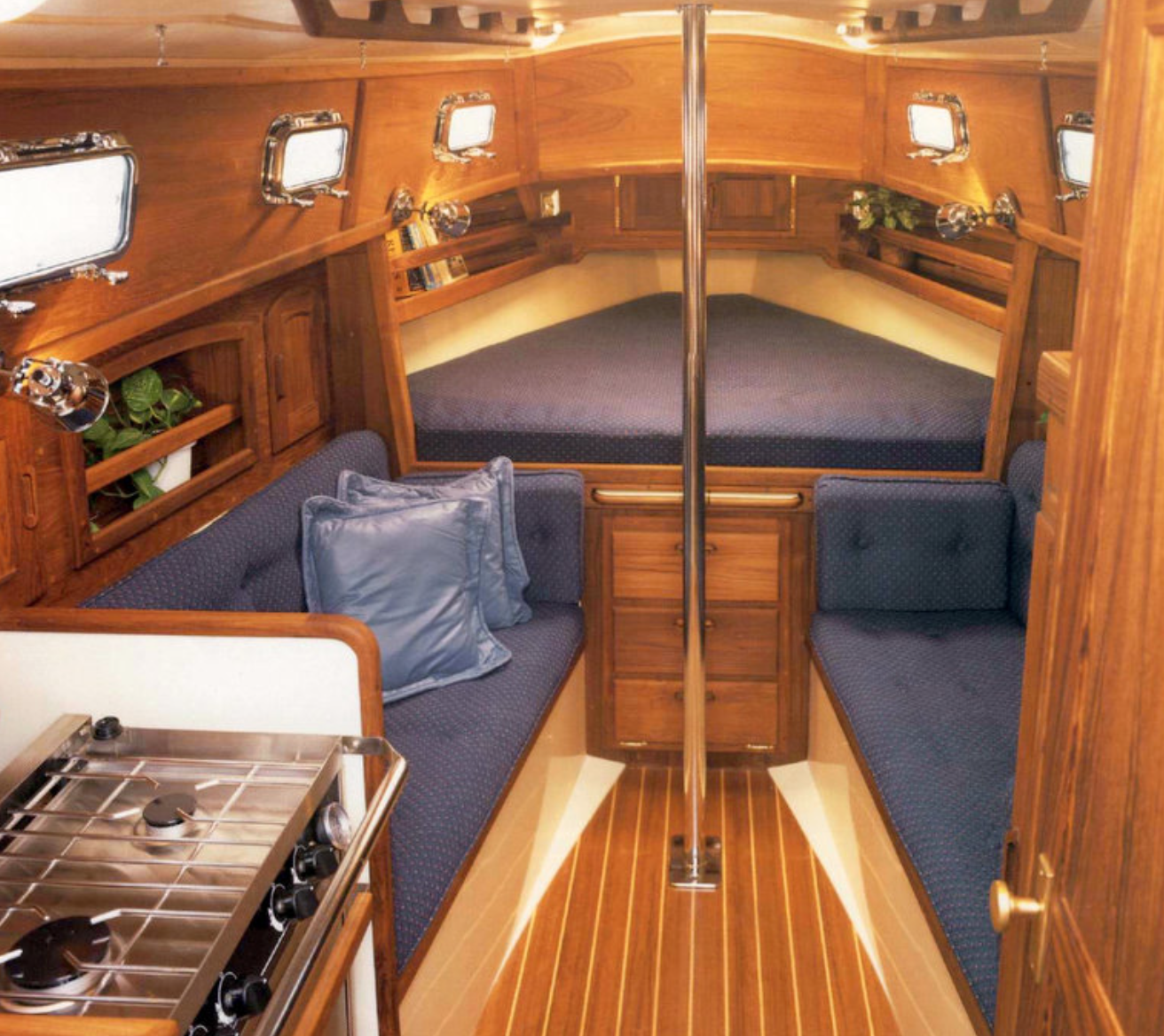 At 24 feet she has an impressive cabin. Photo by: Pacific Seacraft