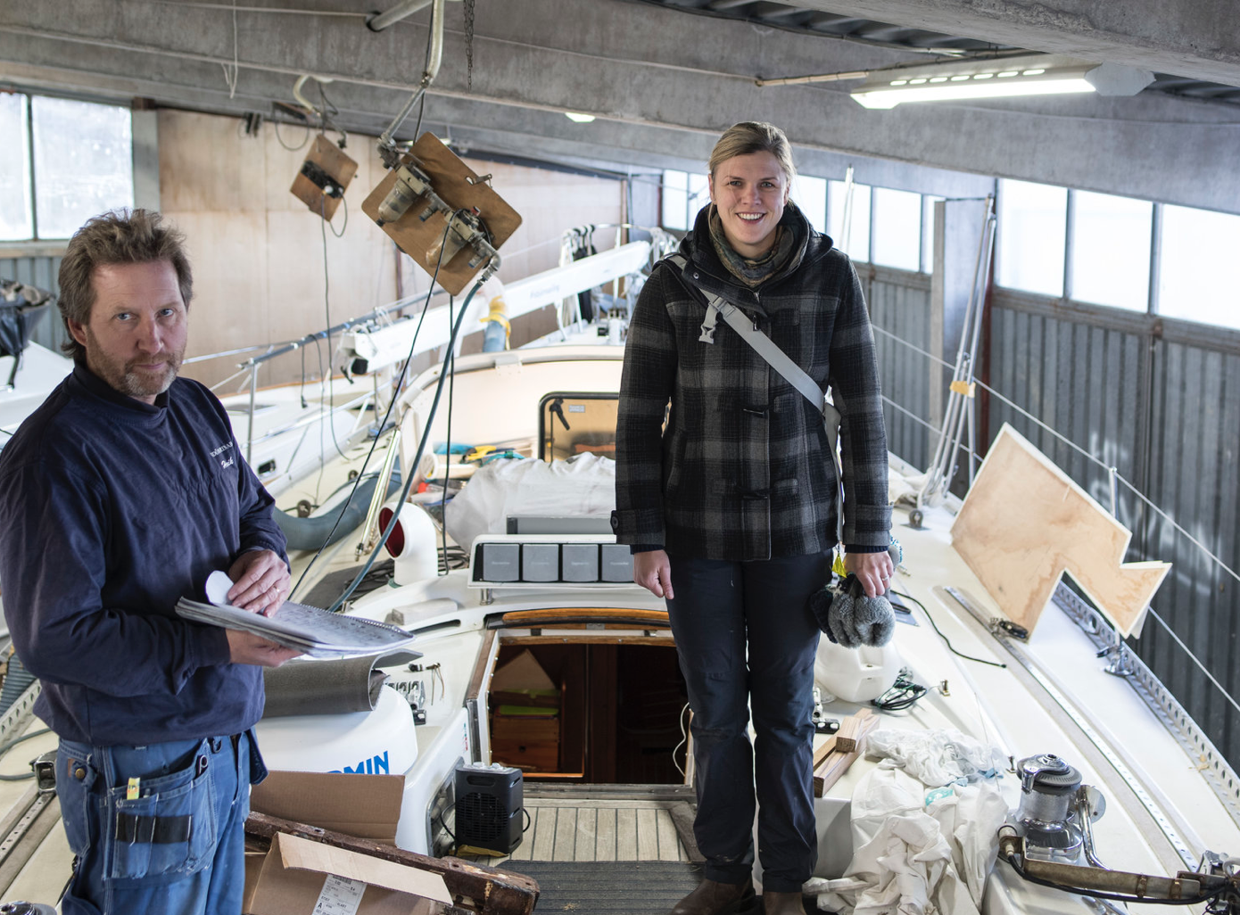 Vindö's project manager Henrik and Mia discussing the refit at Vindö Marin.  Photo:   59º North