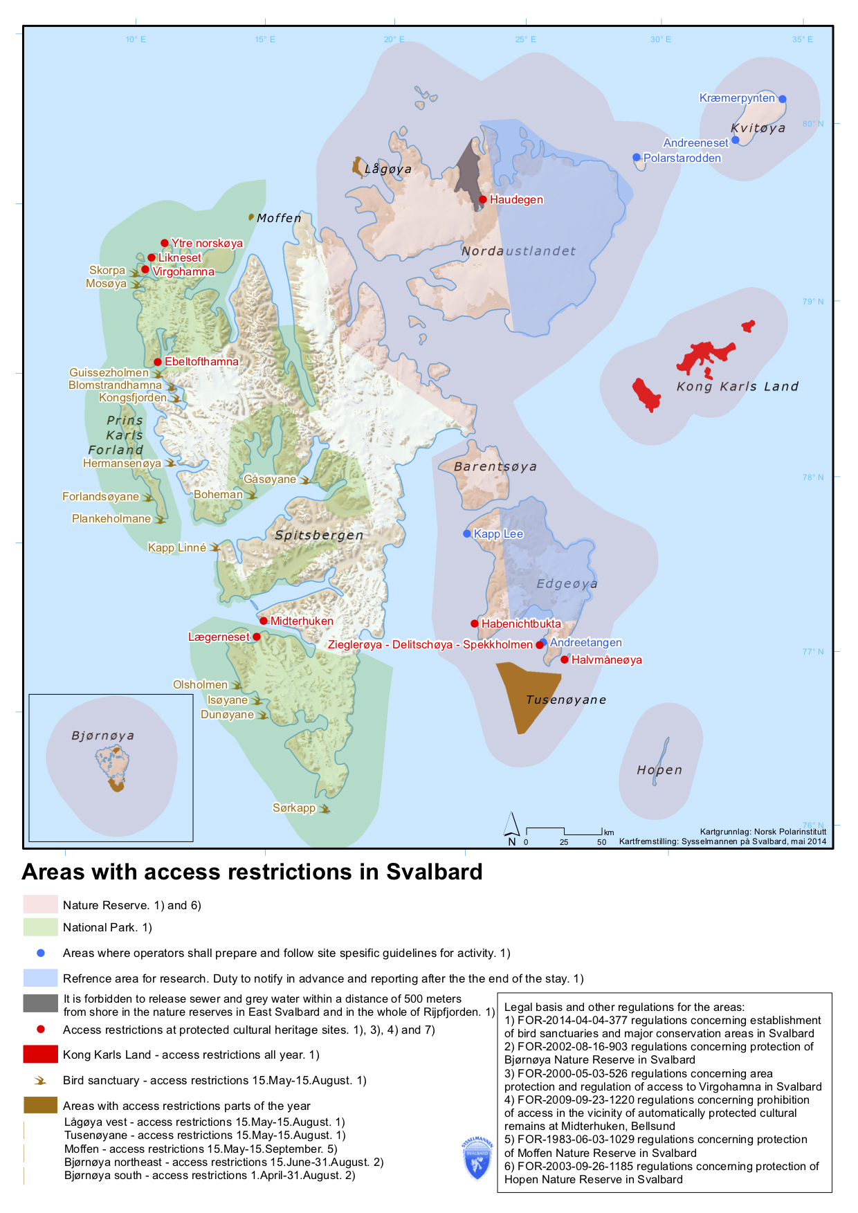 Map over restricted areas in Svalbard. Map by: The Governor of Svalbard.
