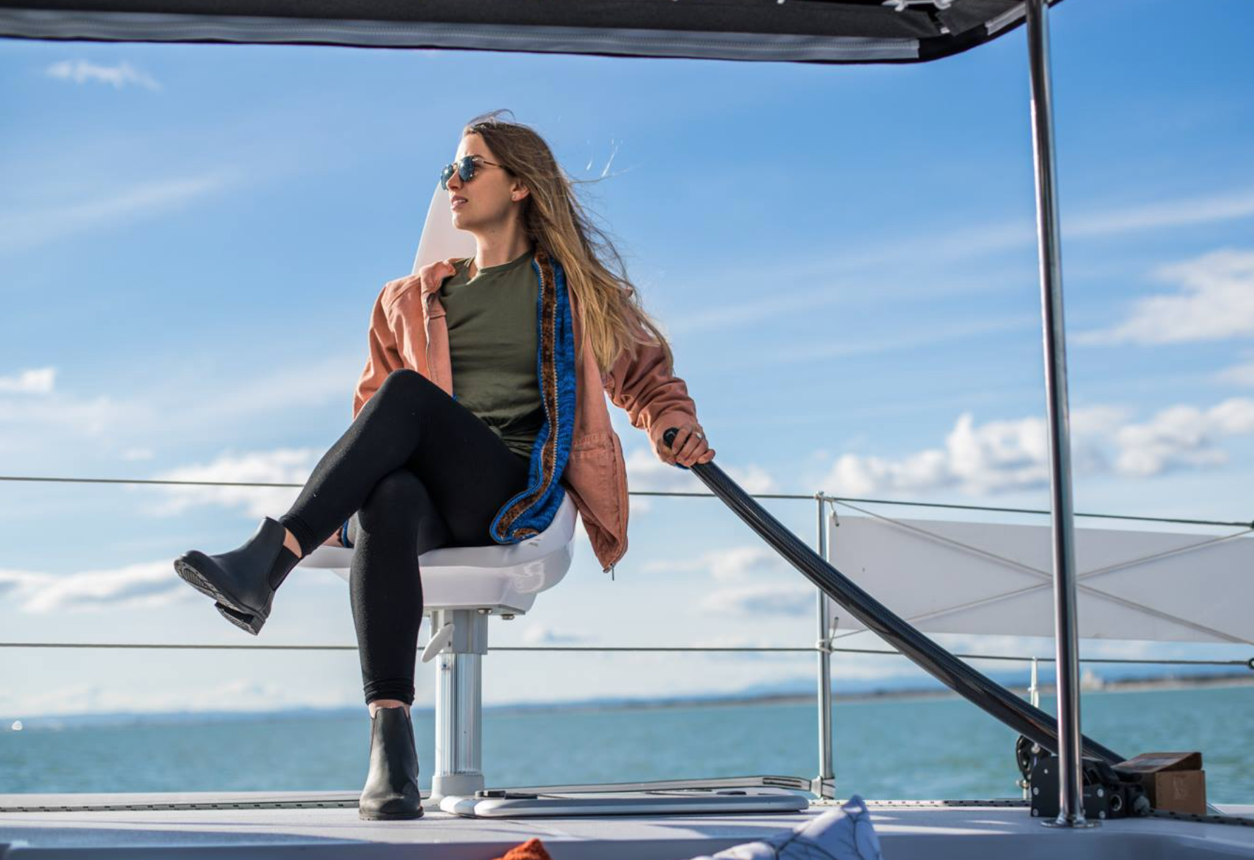 Elayna onboard their new Outremer 5X. Photo by ©Robin Christol