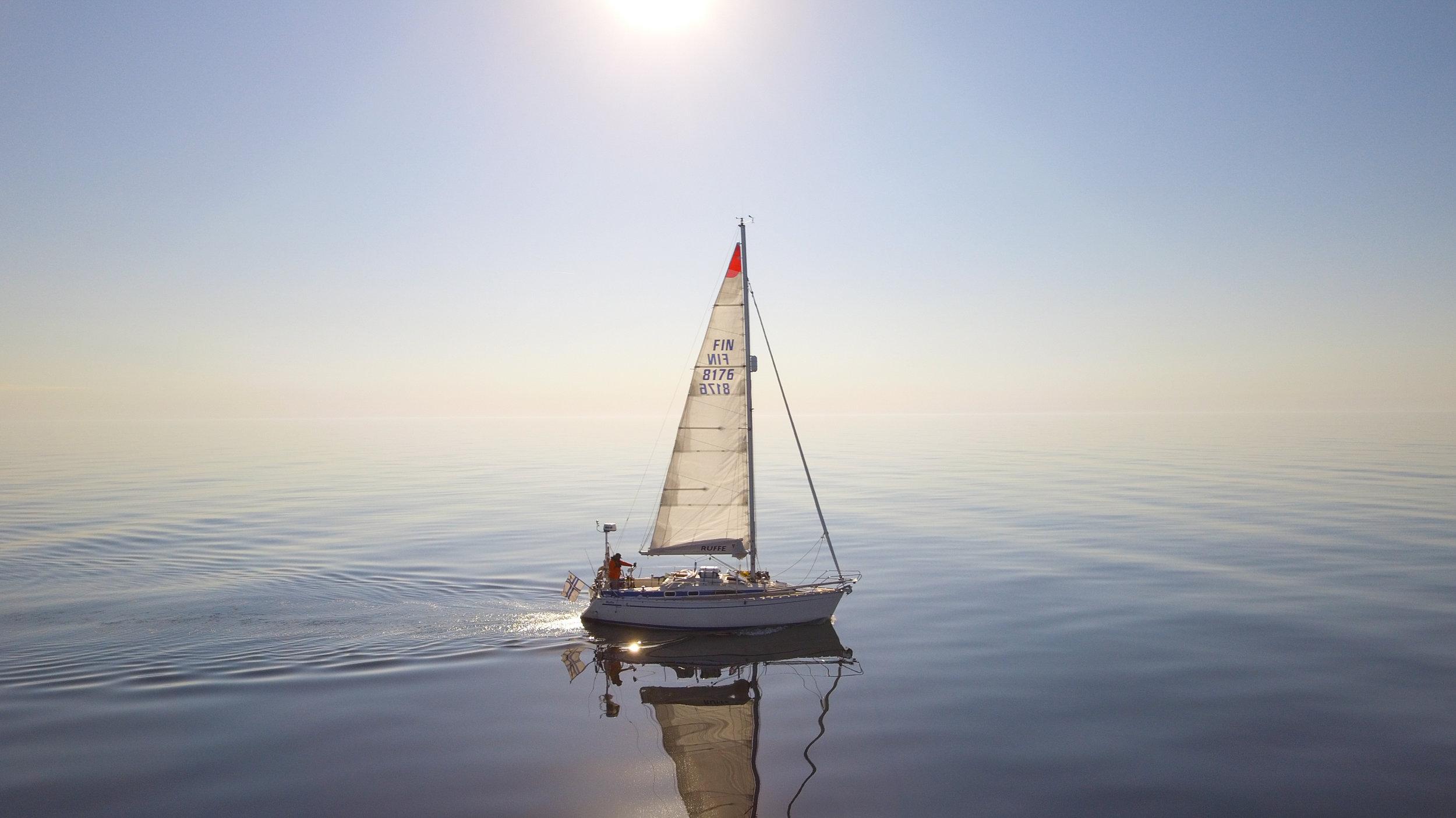 "Becalmed in the Baltic Sea. Photo by: Kari ""Ruffe"" Nurmi"