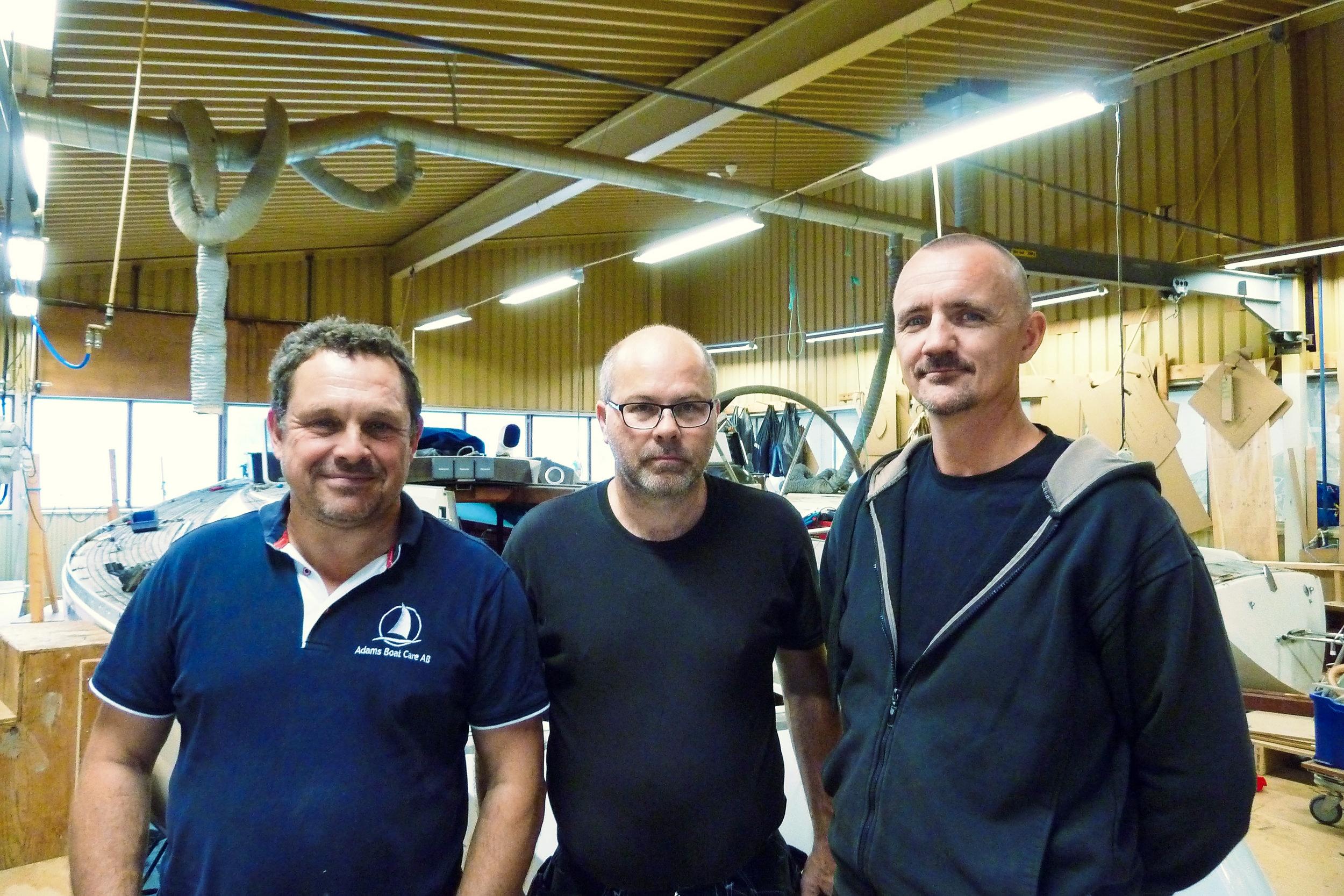 From the left; Owner Carl Adams, Chief Engineer Christer Verta and Master Teak Layer Kjetil Overvik. Photo: Daniel Novello