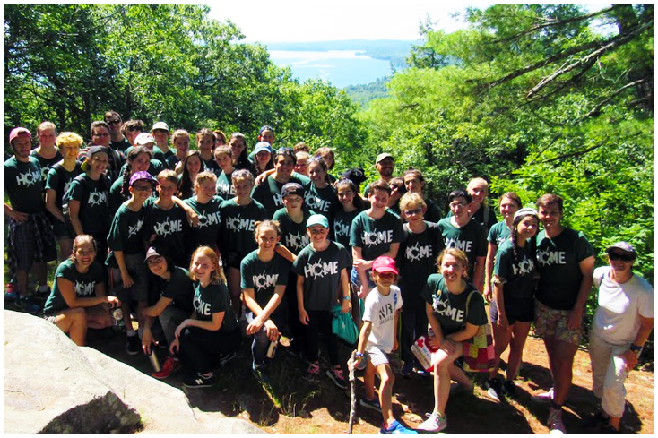 Campers and Staff take in a spectacular view near camp on a Trip Day hike.