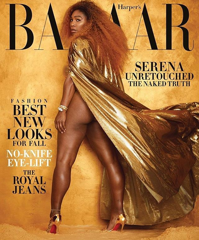 Cover star appreciation: @serenawilliams is fierce AF on the latest cover of @harpersbazaarus ✨ Williams poses unretouched, strong and confident in her booty bearing @ralphlauren cape