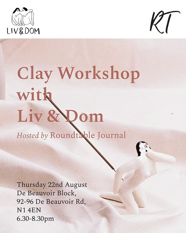 Make your own nude clay incense holder with twin ceramicists @livanddom 🖌 Join us on Thursday 22 August at @debeauvoirblock for an evening of sculpture making, good conversation and endless chilled rosé. Link in bio for tickets — limited availability 💫 . . . #workshop #livanddom #roundtablejournal