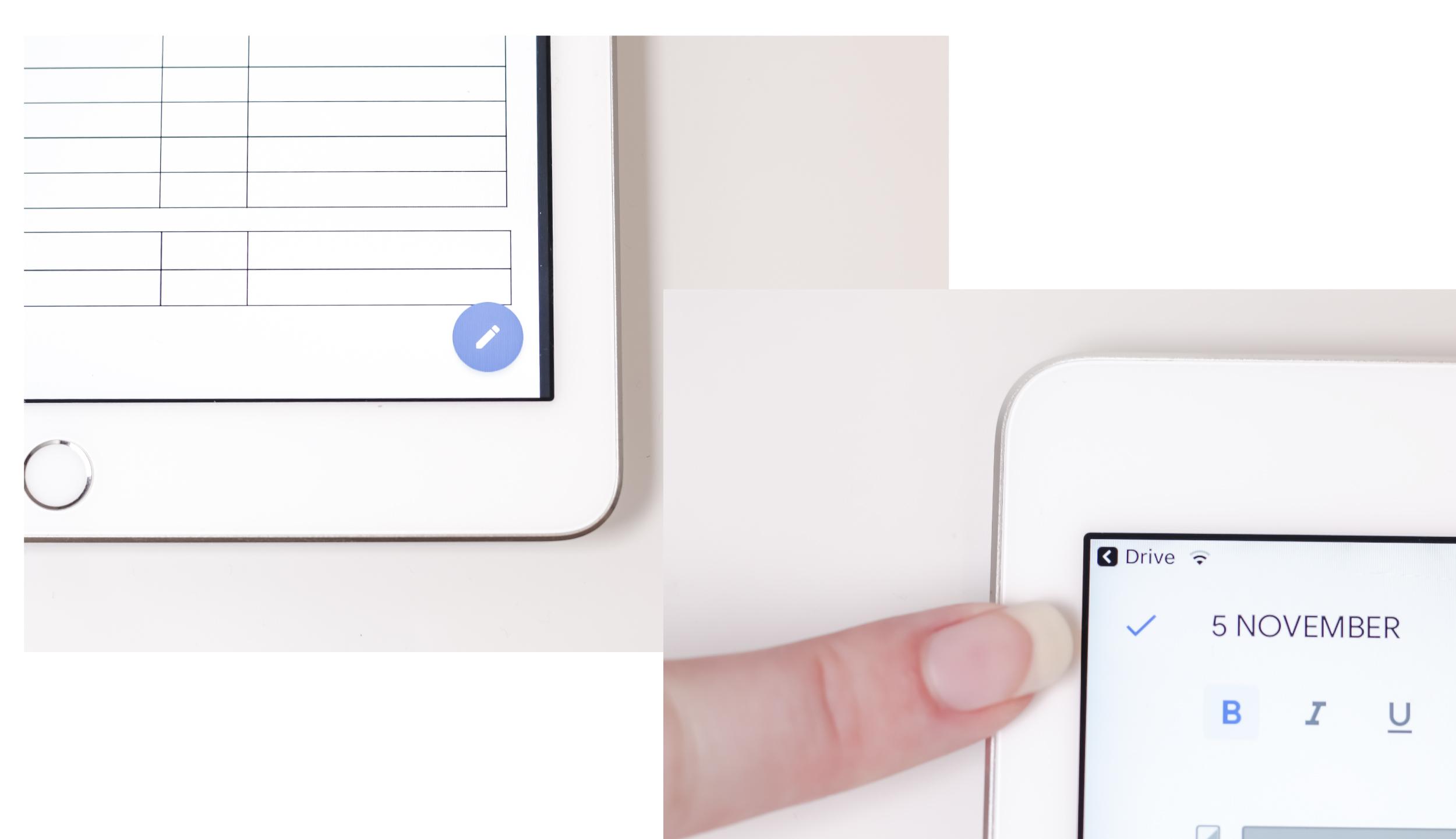 - För att kunna skriva i dokumentet klickar du på den blå cirkeln med en penna i längst ner i högra hörnet. Därefter går det bra att skriva i dokumentet. När du är klar trycker du på den blå bocken högst upp till vänster.