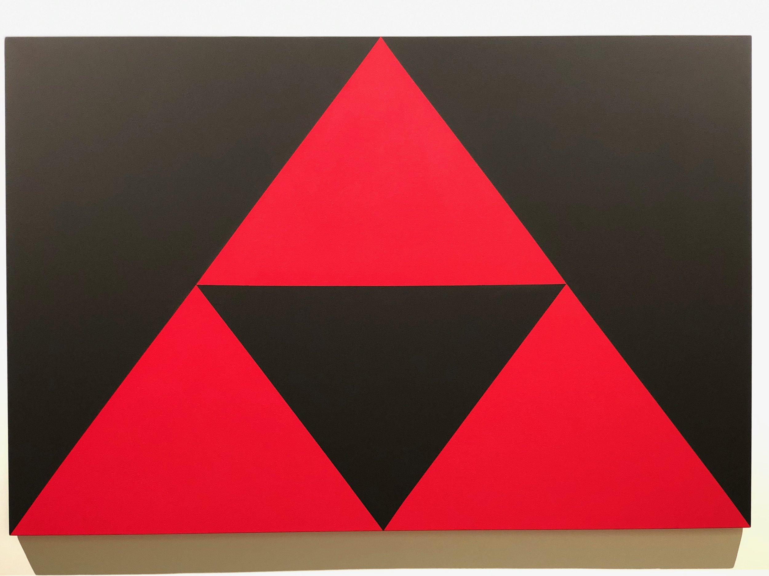 Above; Carmen Herrera (b. 1915, Cuba) 3 Red Triangles, 2016