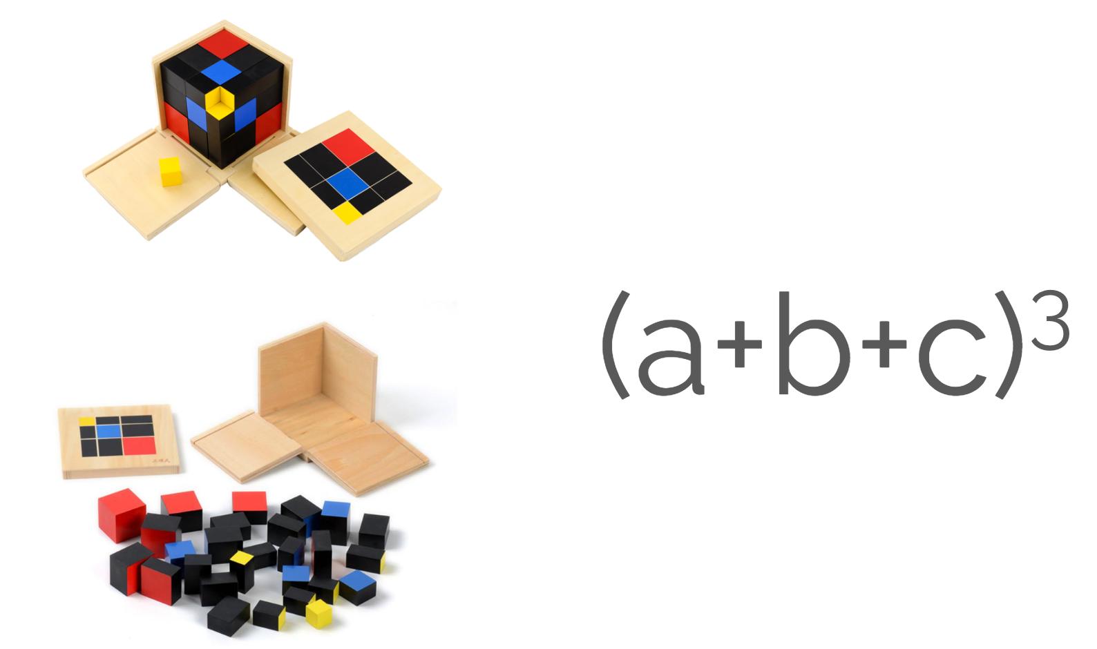 Les cubes du binôme et du trinôme que les enfants des classes Montessori affectionnent beaucoup