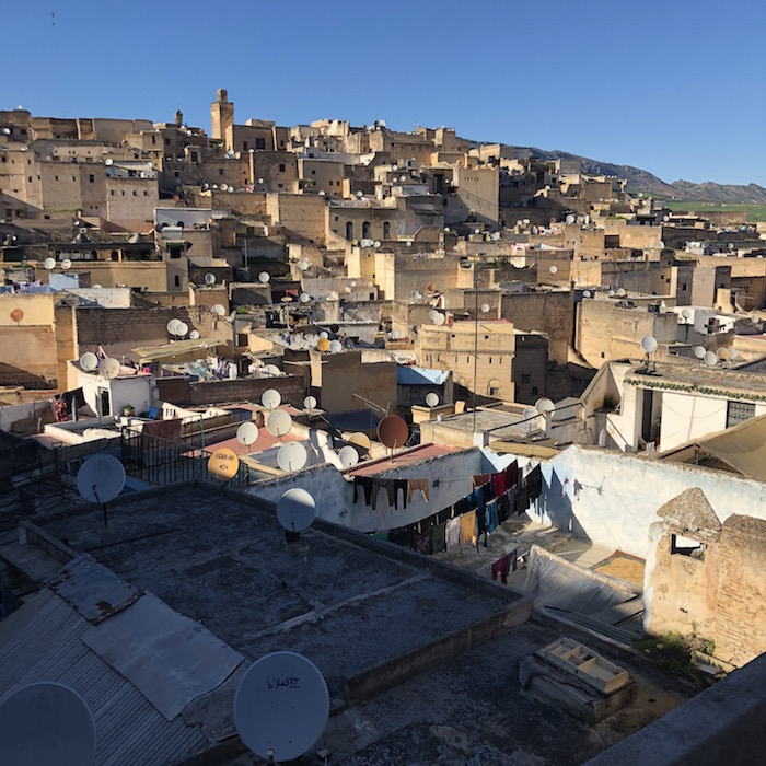 View from the terrace. Each satellite dish represents one family that lives in that paricular building.