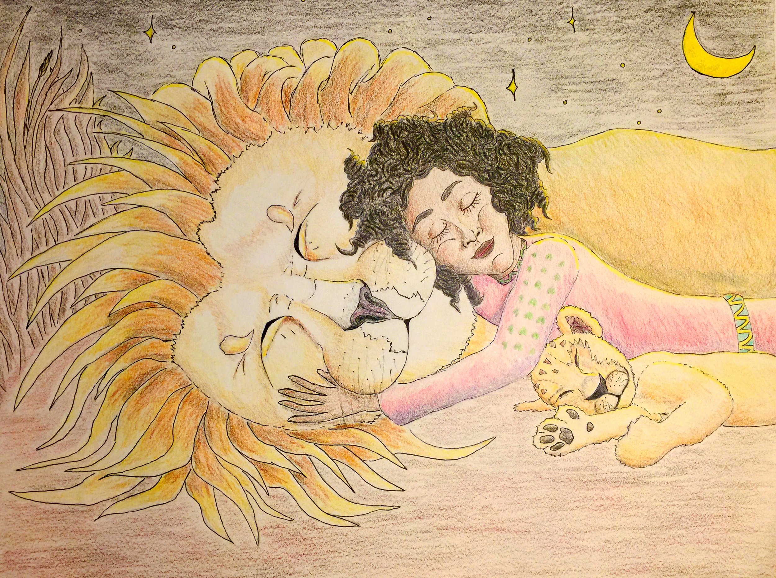 "Semhar Sleeps With Lions - Semhar sleeping sweetly with the lions, who the villagers are afraid of. From ""Semhar and the Lion."" Pencil and pen outline with colored pencil fill."