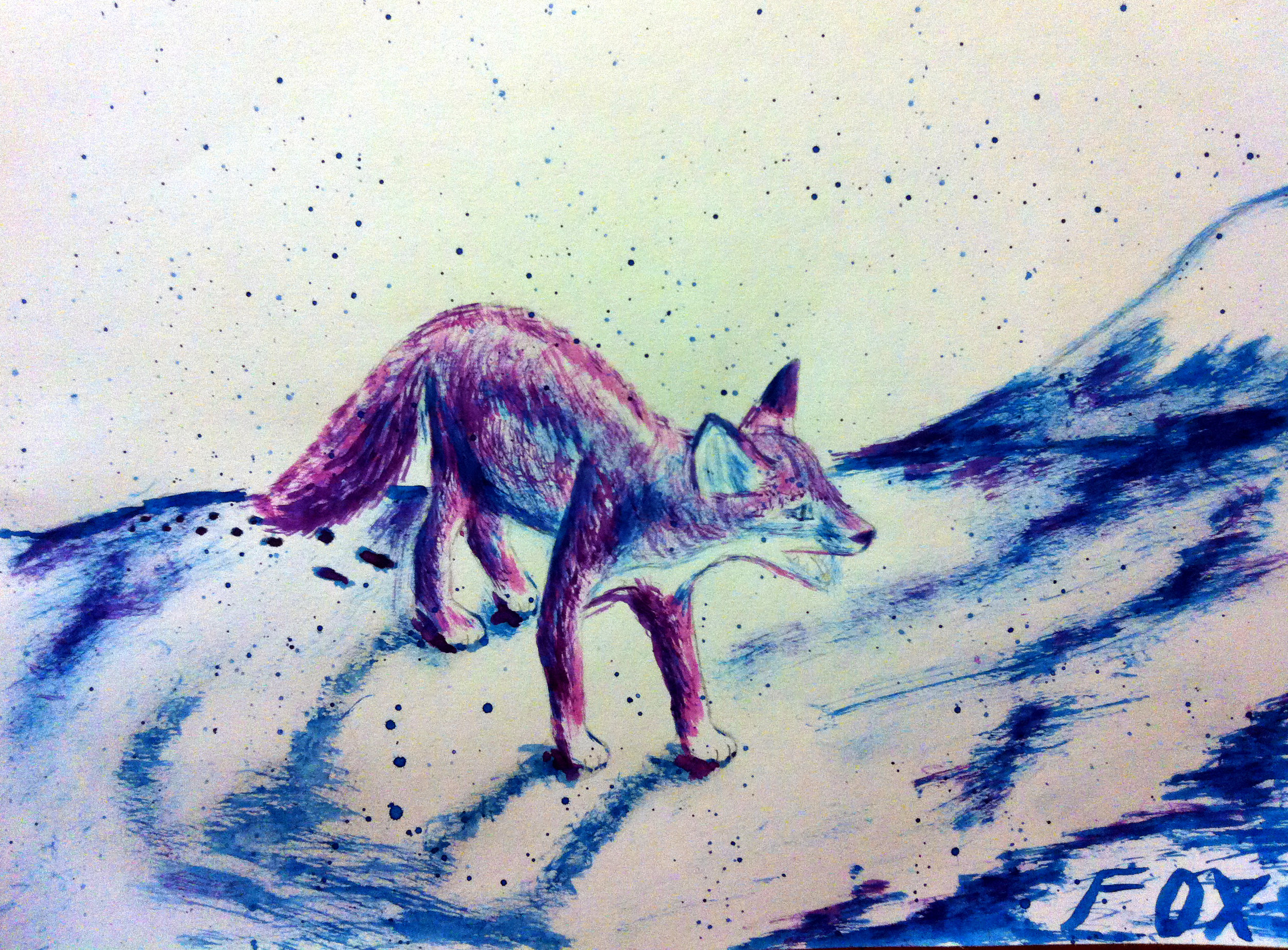 Young Fox In Snow - This little ice fox was an idea to set a mood using only two colors: blue and red.Pencil with only red and blue watercolor.