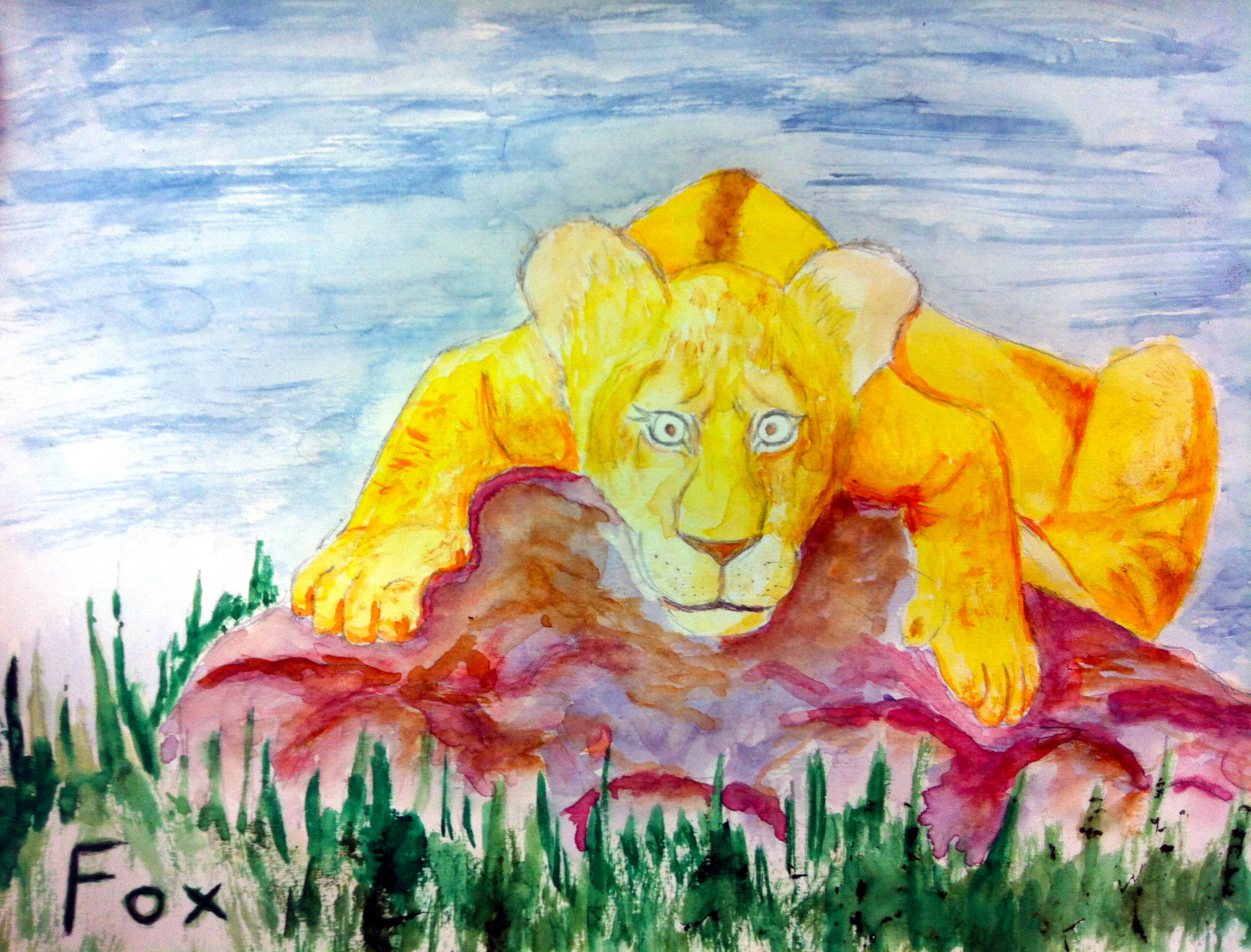 Lion On A Hot Day - This little watercolor lion, resting in the sun.Pencil with Watercolor fill.