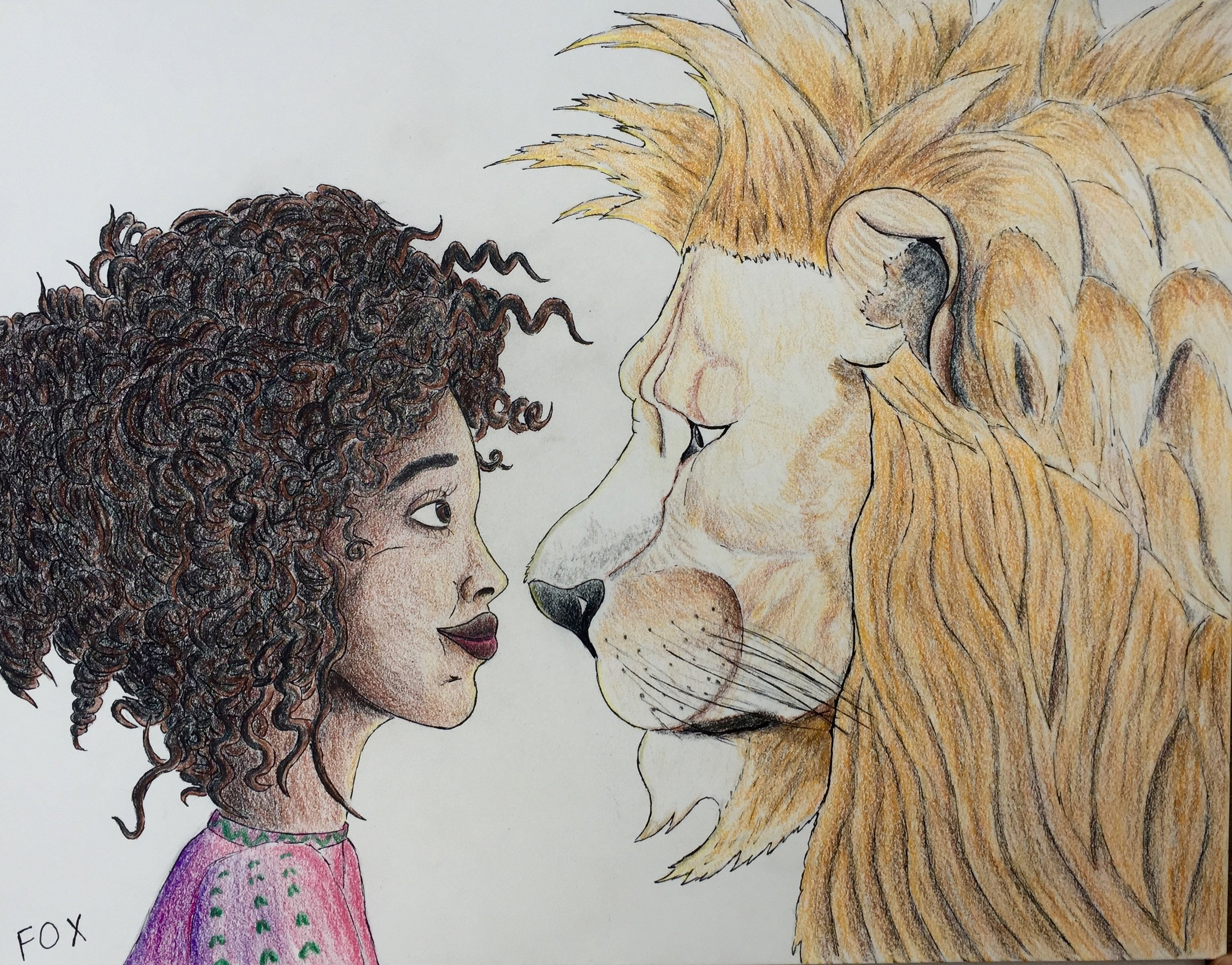 Semhar and the Lion - A young girl befriends a lion in a sweet adventure across the hottest desert in the world, the Danakil, in Eritrea.Pencil and pen outline with colored pencil to fill.