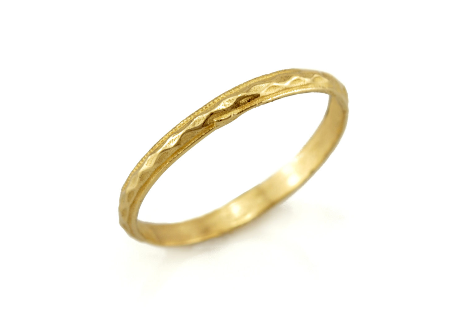14k Gold Thin Wedding Band Ring With A