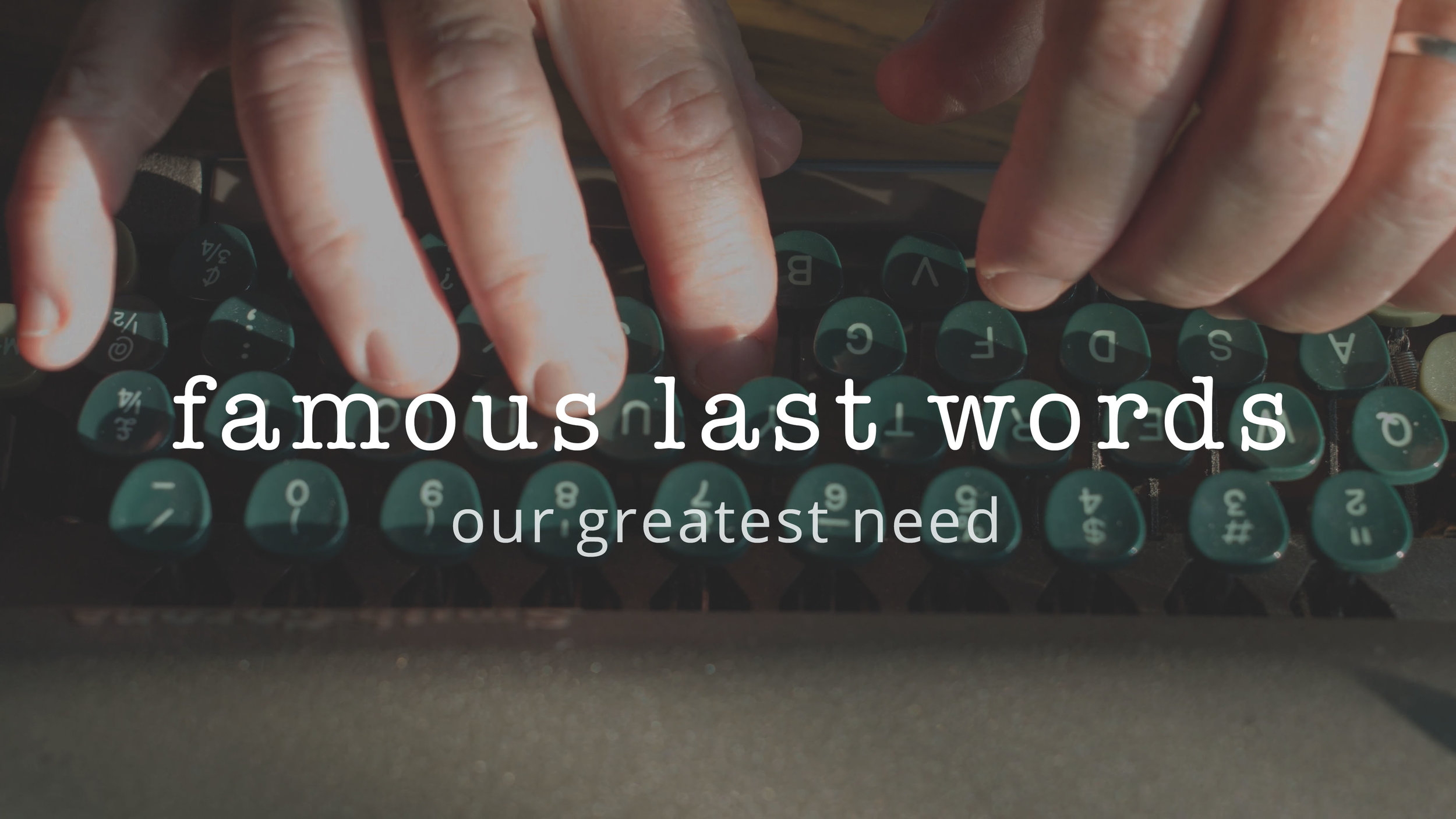 1 | Our Greatest Need