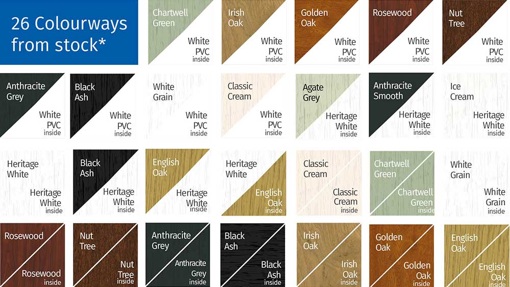 26 Colourways - Premium Woodgrain Foils in 26 colourways. Our Heritage Colour Collection has been specially designed to help you put together the perfect colour for your home.