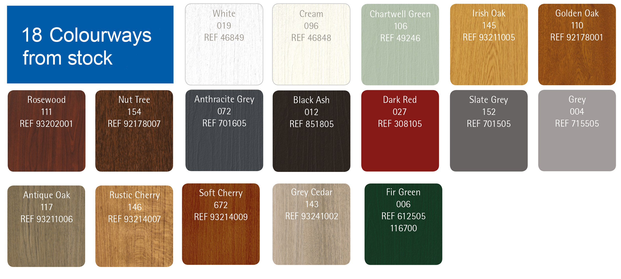 Colour Range - Our UPVC Patio Doors are available in 18 premium foil options that been specifically designed and manufactured to suit and improve the look of any home.