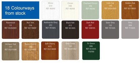 Colour Options - Our Deceunick residential doors are available in 18 colourways available from stock guaranteed to suit or match any type of property.