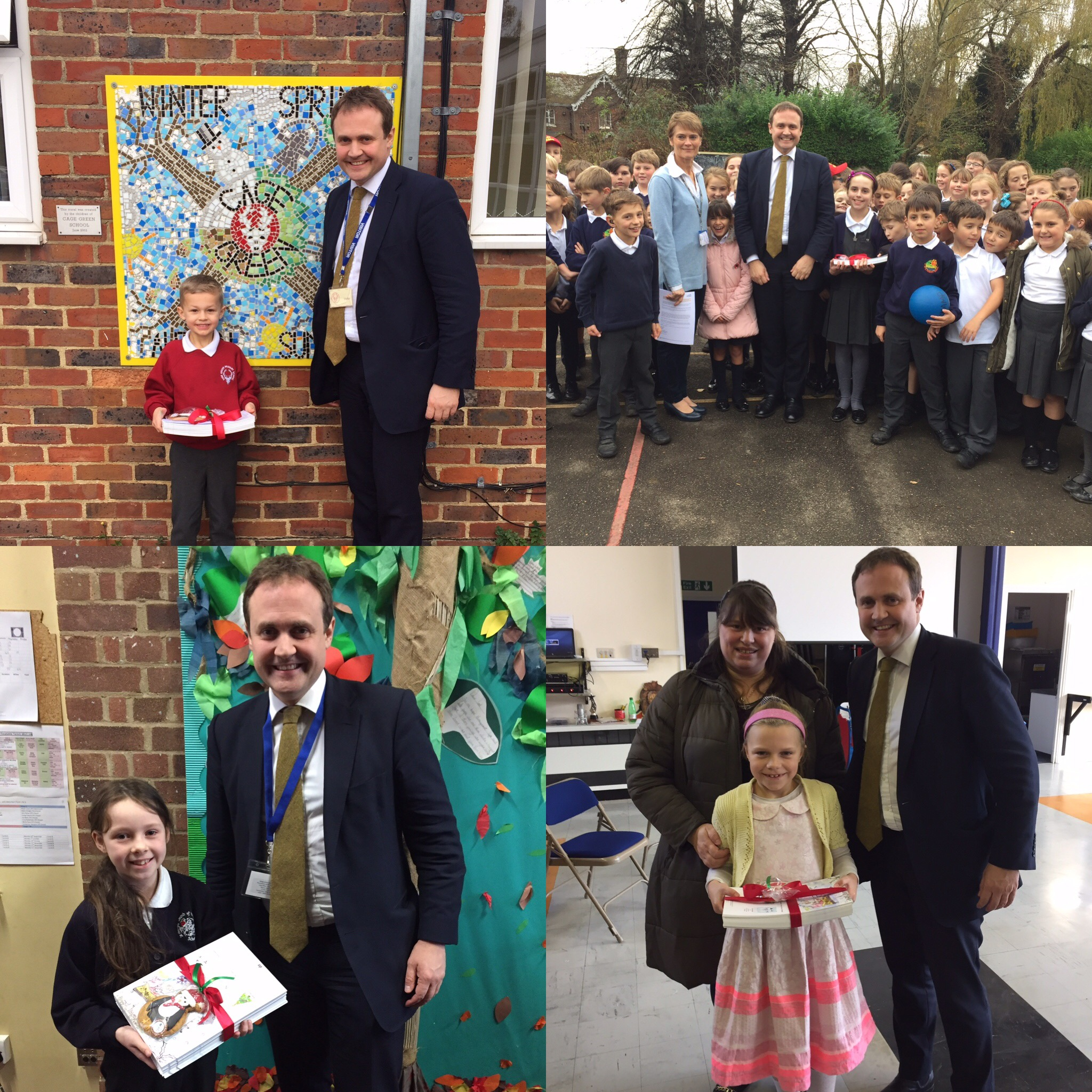 I've had a fantastic day surprising the winners of my Christmas card competition. I received hundreds of incredible designs so it was such a tough decision to choose a winner. But I am delighted to announce that the winning design was submitted by Charlotte from Longmead Community Primary School. Well done Charlotte! Massive congratulations also need to be given to Sky from St George's Primary School, Amelia from Wateringbury Primary School, and Charlie from Cage Green Primary School who were all highly commended winners. Your designs were brilliant! I look forward to welcoming them all to Parliament sometime in the New Year.