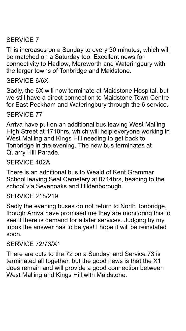 Good news – many of our local bus routes are going to have an improved service starting from Sunday. I'm keen to get public transport working in our area, and, in addition to the welcome changes made by Nu-Venture to school routes, Arriva have delivered some changes too. Please click on the image above to see the changes.