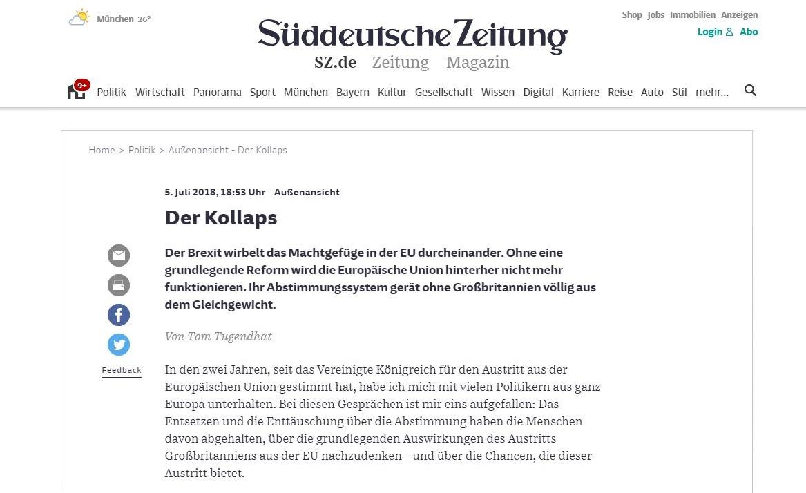I published  this article  in the Süddeutsche Zeitung today, 6 July 2018. The German you can read here:  http://www.sueddeutsche.de/politik/aussenansicht-der-kollaps-1.4041807