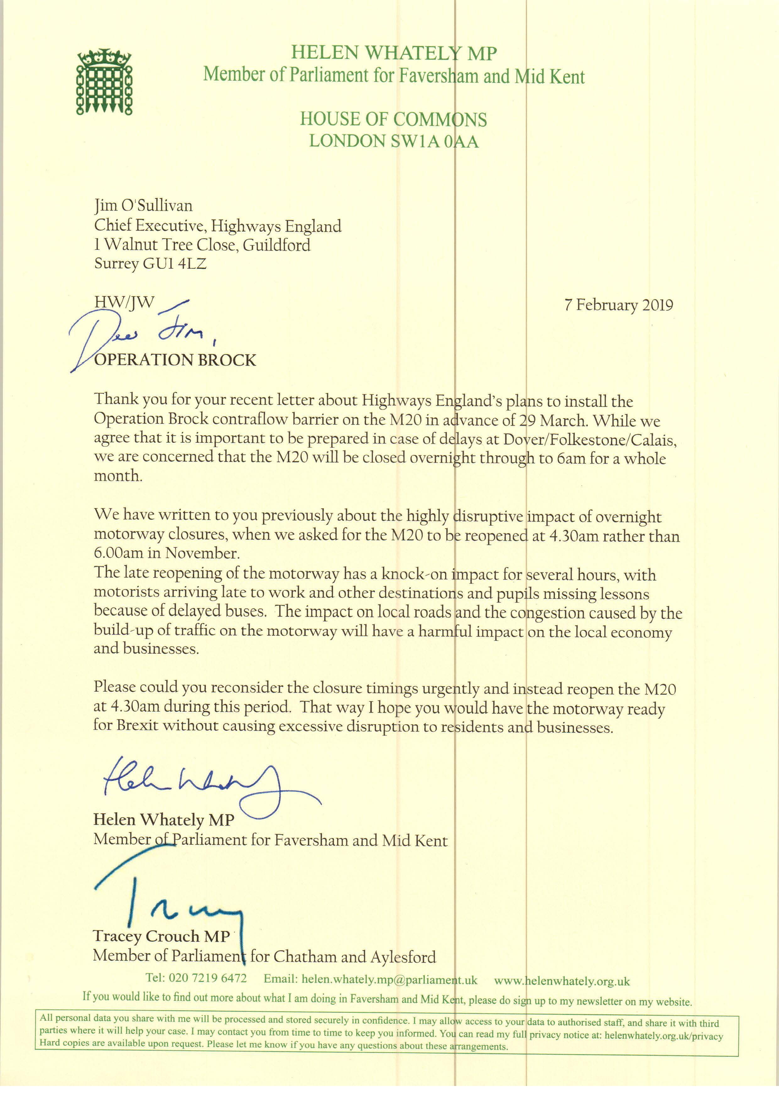 Following my letter to Highways England in November, I, along with a number of other Kent MPs, have written to them again to ask that the M20 reopen at 4.30am rather than the currently planned 6am while the Operation Brock contraflow barrier is installed. To see the letter in full, please click  here .