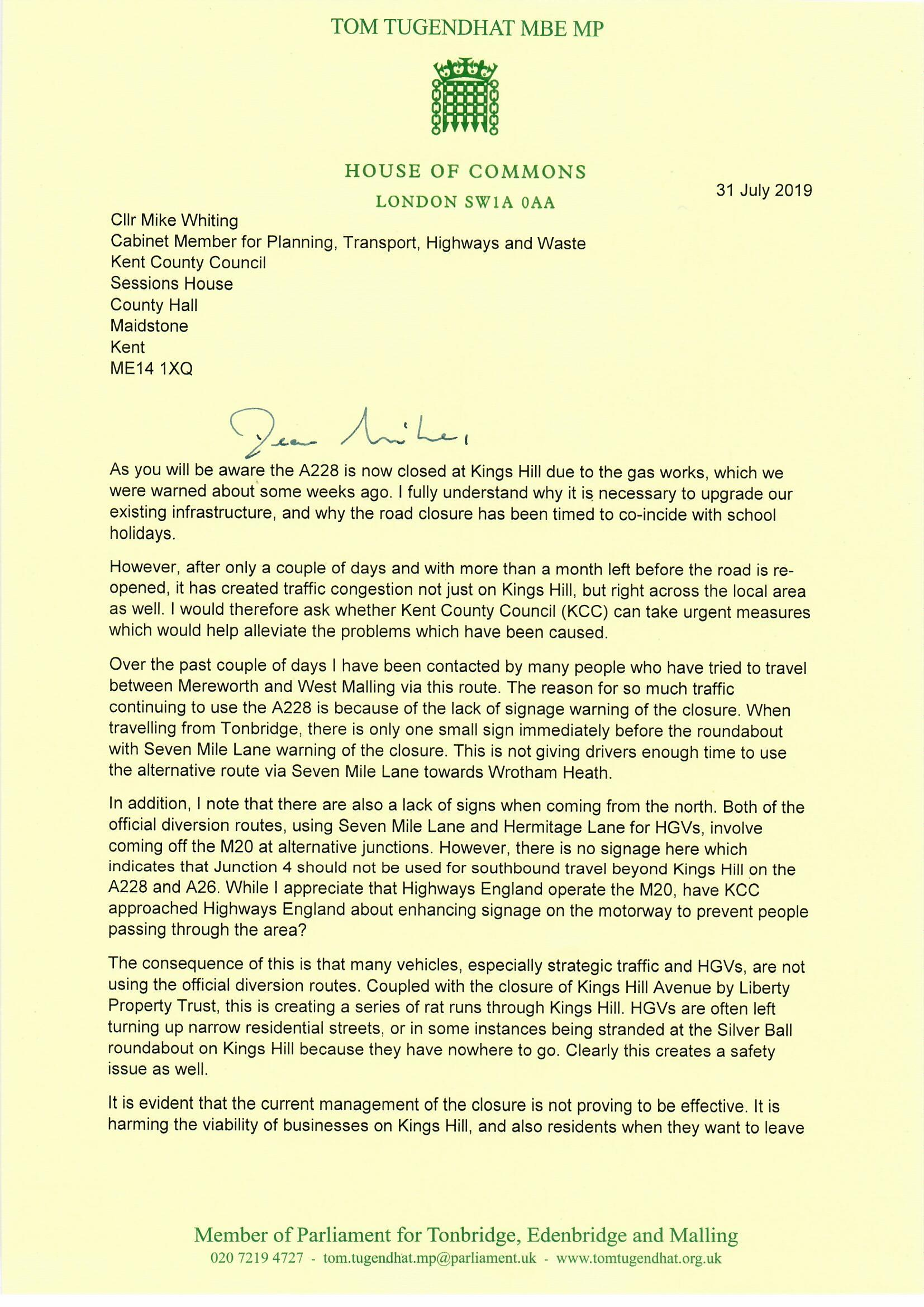 20190731 - Tom Tugendhat to Mike Whiting, A228 closure0001.jpg