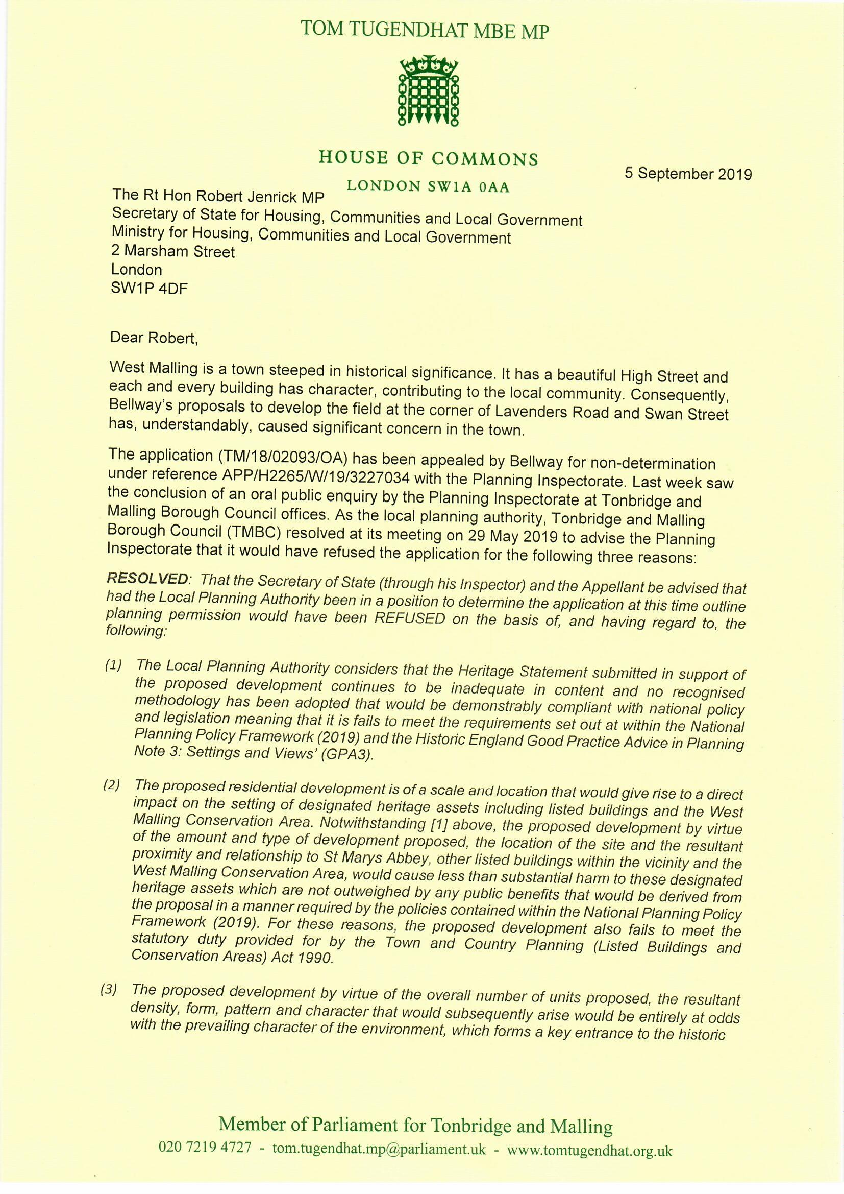 20190905 - Tom Tugendhat to Robert Jenrick, Land east of Lavenders Road and Swan Street, St Mary's Abbey - call in request0001.jpg