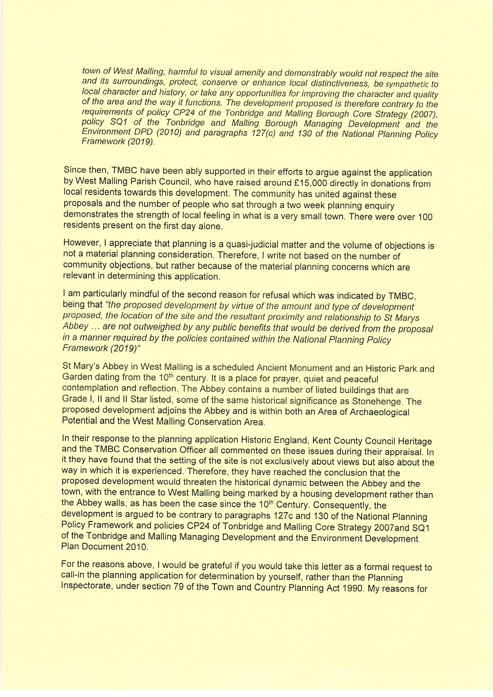 20190905 - Tom Tugendhat to Robert Jenrick, Land east of Lavenders Road and Swan Street, St Mary's Abbey - call in request0002.jpg