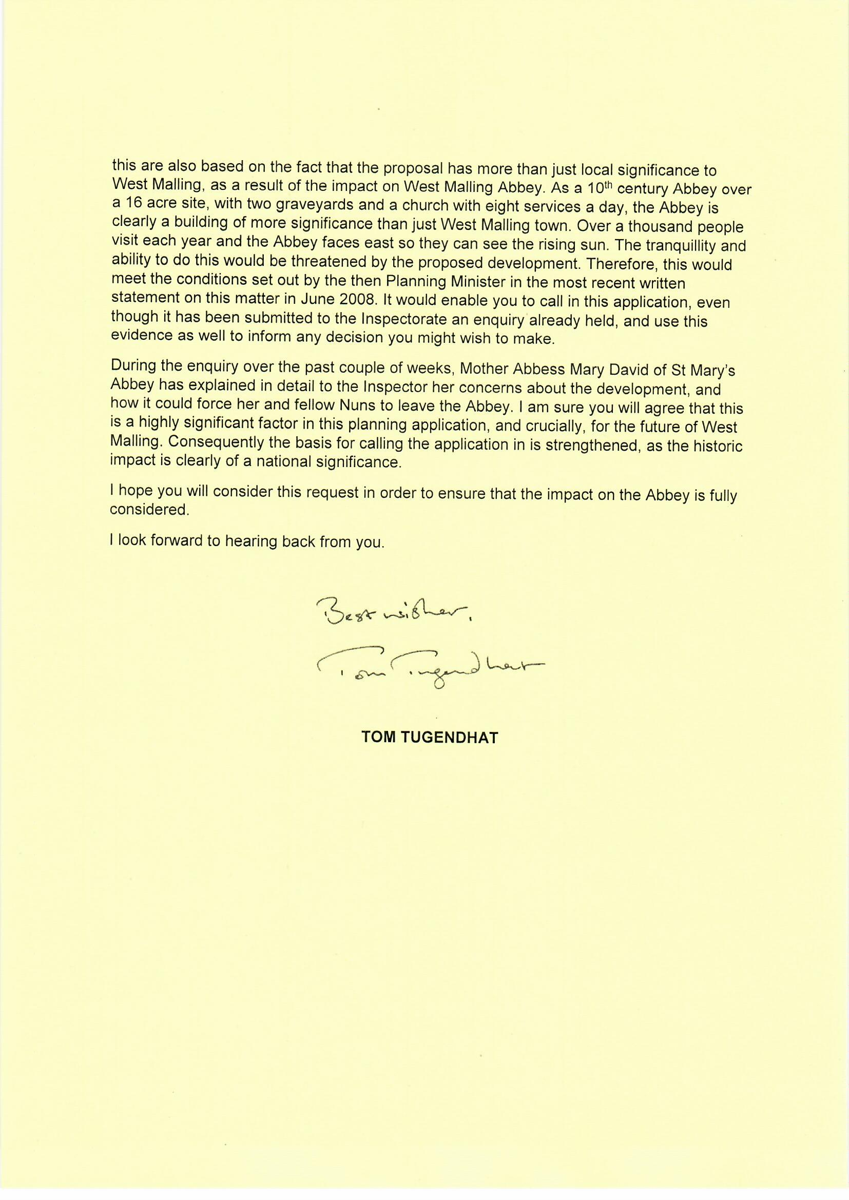 20190905 - Tom Tugendhat to Robert Jenrick, Land east of Lavenders Road and Swan Street, St Mary's Abbey - call in request0003.jpg