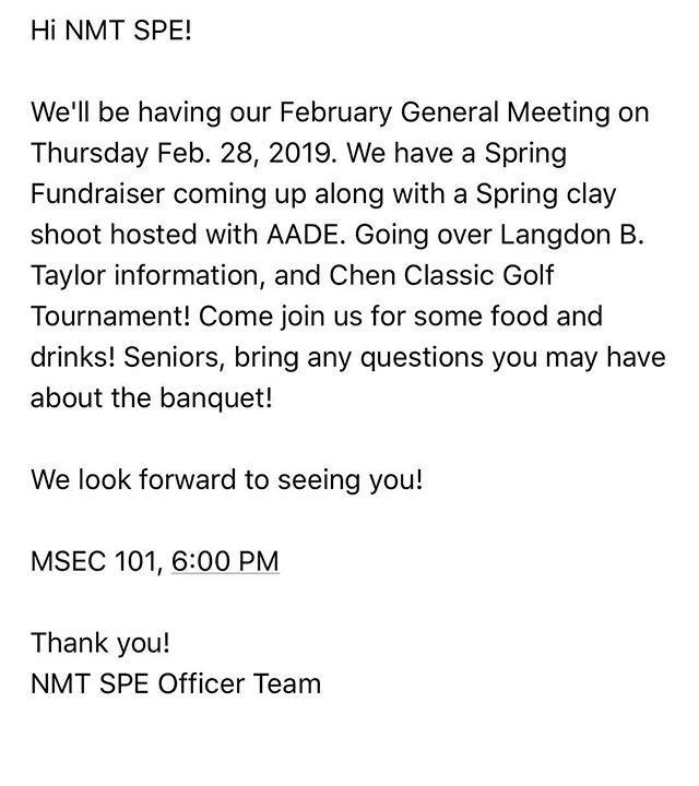 Come out tonight and hang with NMT SPE! 6PM, MSEC 101