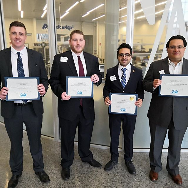 We had four contestants in the SPE Southwestern North America Regional Student Paper Contest today in Lubbock, TX. Pictured left to right: Michael Medulla, Andrew Bushman, Edgard Parra, and Saul Gomez Diaz de Bonilla. The drive and determination that goes into these presentations is nothing short of amazing. Congratulations to all of our NMT SPE students who represented Tech so well!  A special shout out to Edgard Parra, our undergrad participant who took 1st Place at this regional competition! Great job Edgard!  #nmtspe #SPE