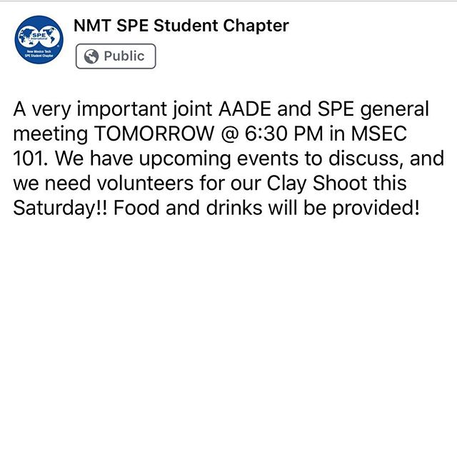 Tuesday March 26th, 6:30 PM in MSEC 101. Joint meeting with AADE!