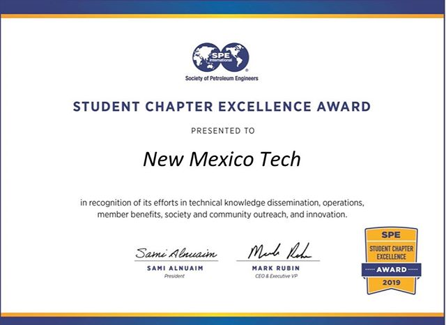 New Mexico Tech fell a little short of Outstanding Chapter this year, but considering the many changes we faced this is a huge accomplishment. So proud to work with such a special group of people! Congrats NMT SPE for earning the Student Chapter Excellence Award! #SPE #NMTSPE