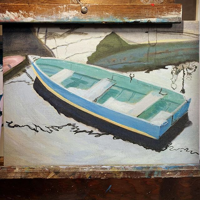 A few more adjustments and it should be done.  #ptown #boating #boats #painting #oilpainting #art #artistic #traditionalart #contemporaryrealism #realism #representationalart #artistsoninstagram #workinprogress #wip #makearteveryday